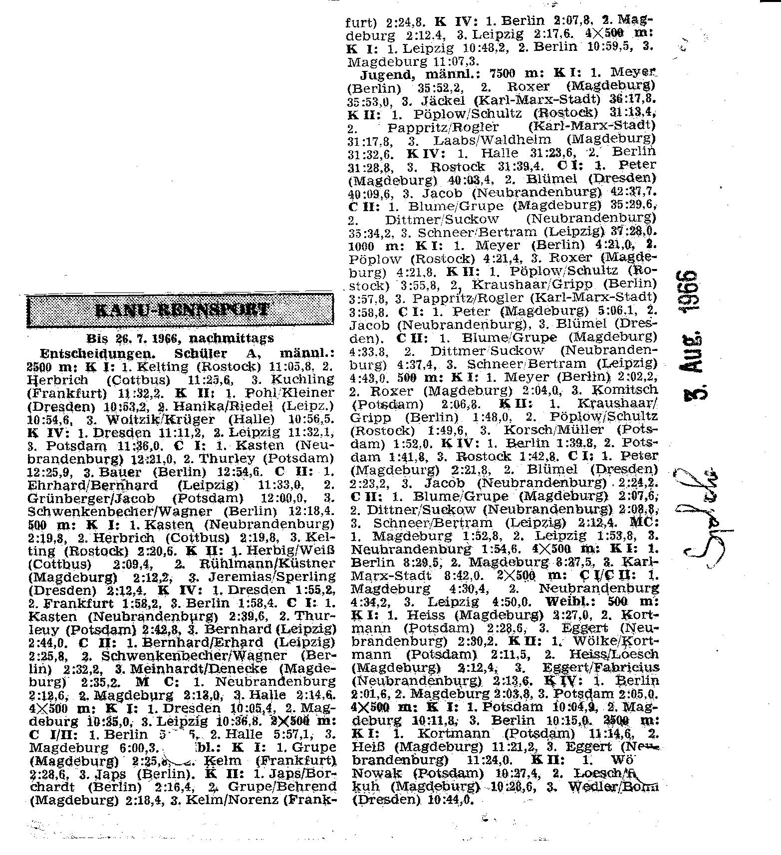1966-08-03 Ergebnisse