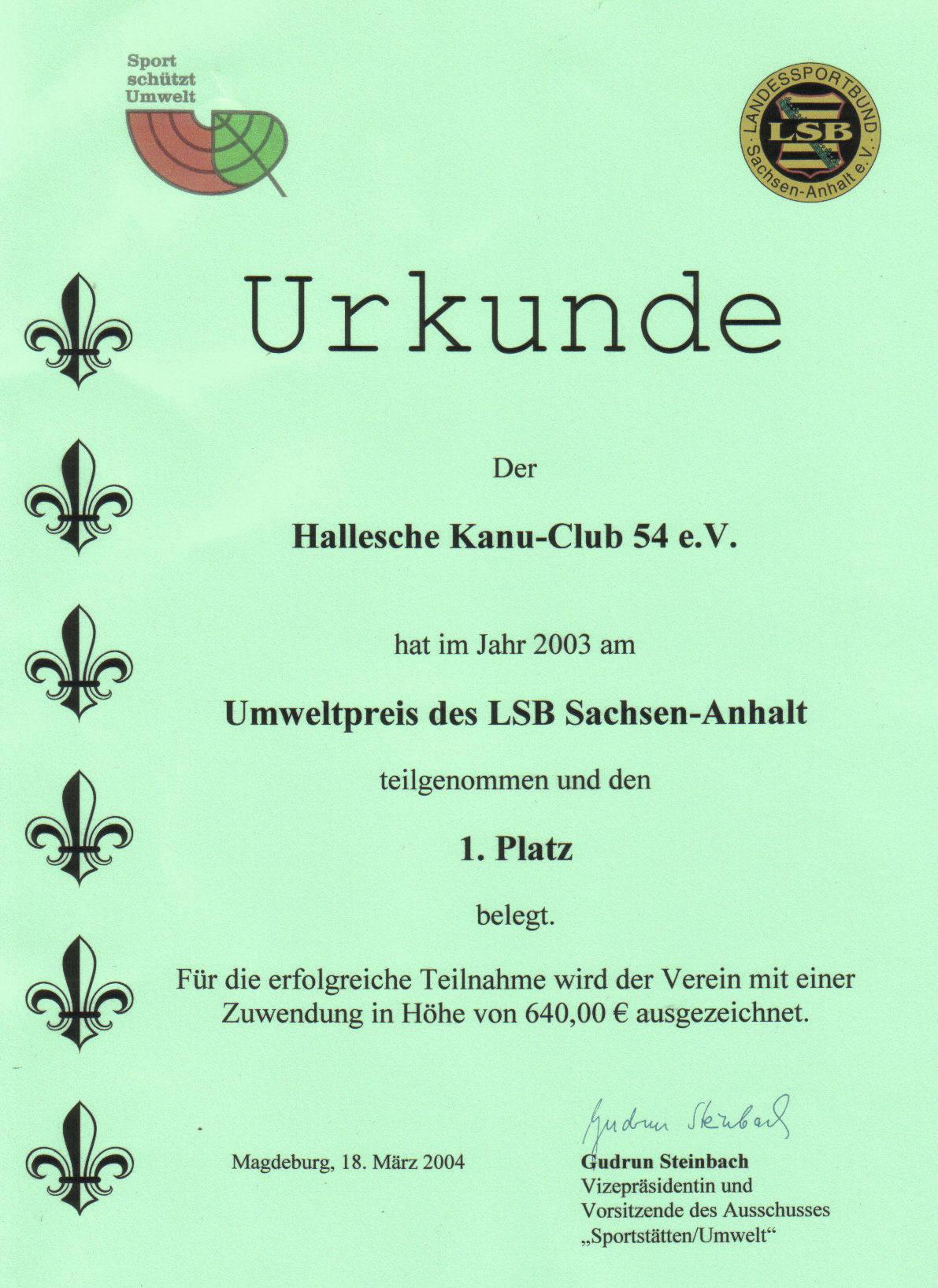 Umweltpreis 2004