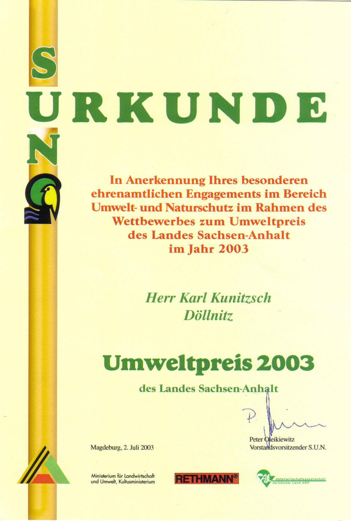 Umweltpreis 2003