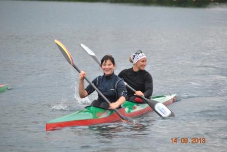 DM KÖLN 2013 Maria paddelt mit Olympiasiegerin Conny