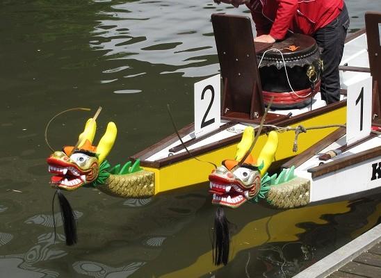 Drachenbootrennen beim Hansefest auf der Saale