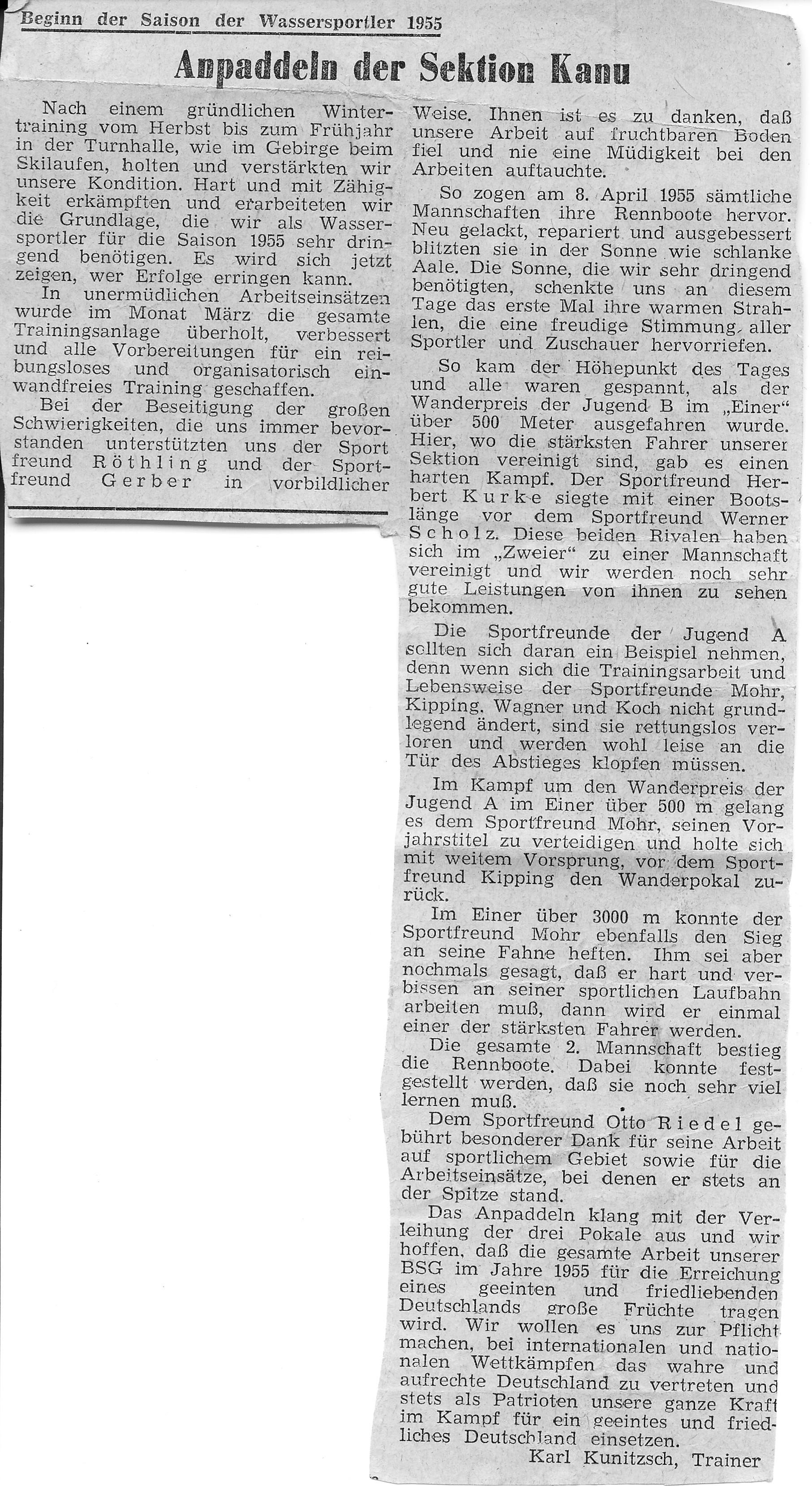 1955.1 Anpaddeln der Sektion Kanu