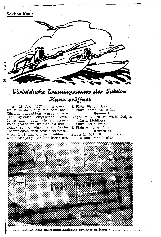 1957-04-28 Vorbildliche Trainingsstätte der Sektion eröffnet