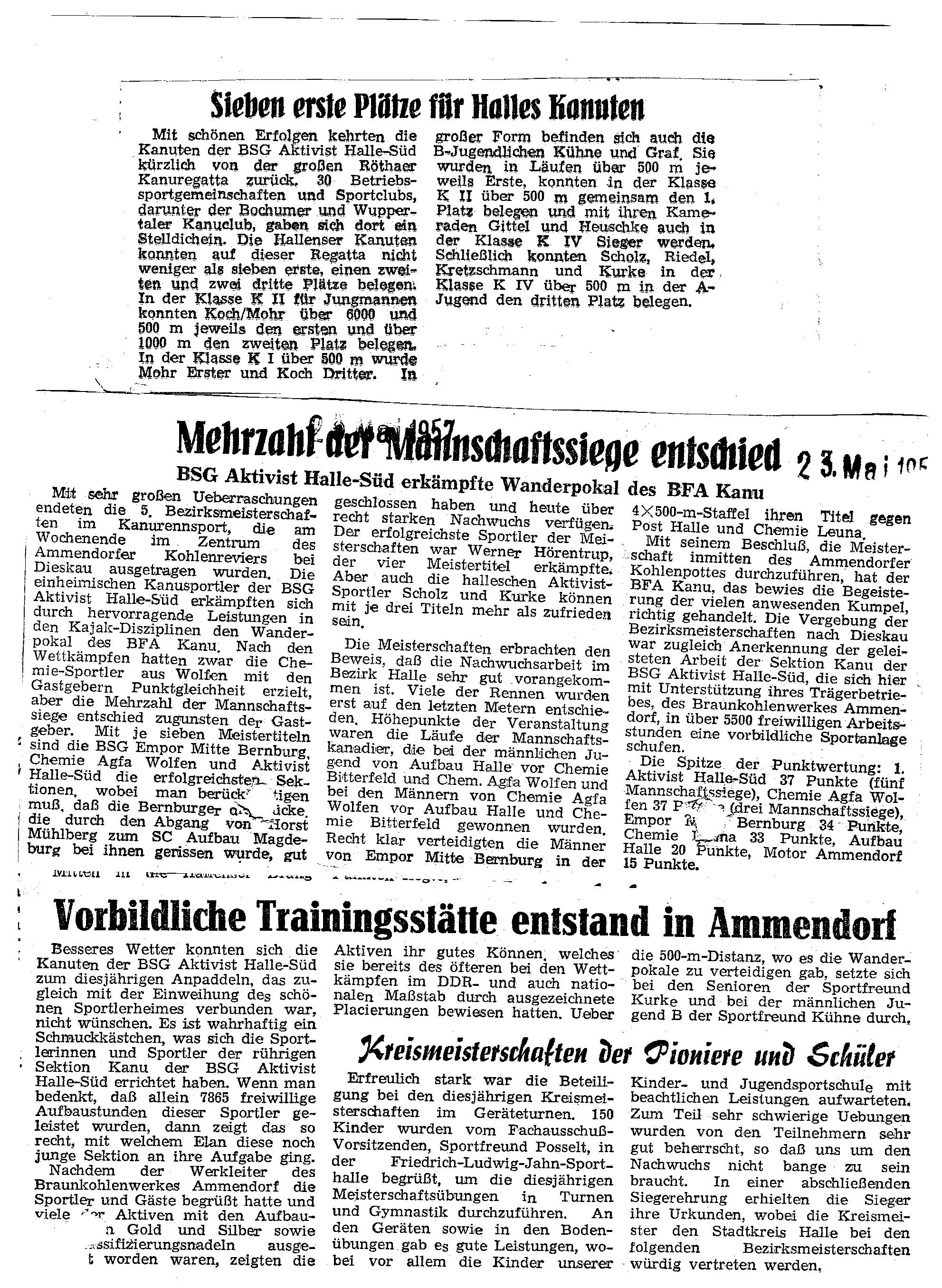 1957-05-23 Mehrzahl Mannschaftssiege entschied, vorbildliche Trainingsstätte entstand in ammendorf