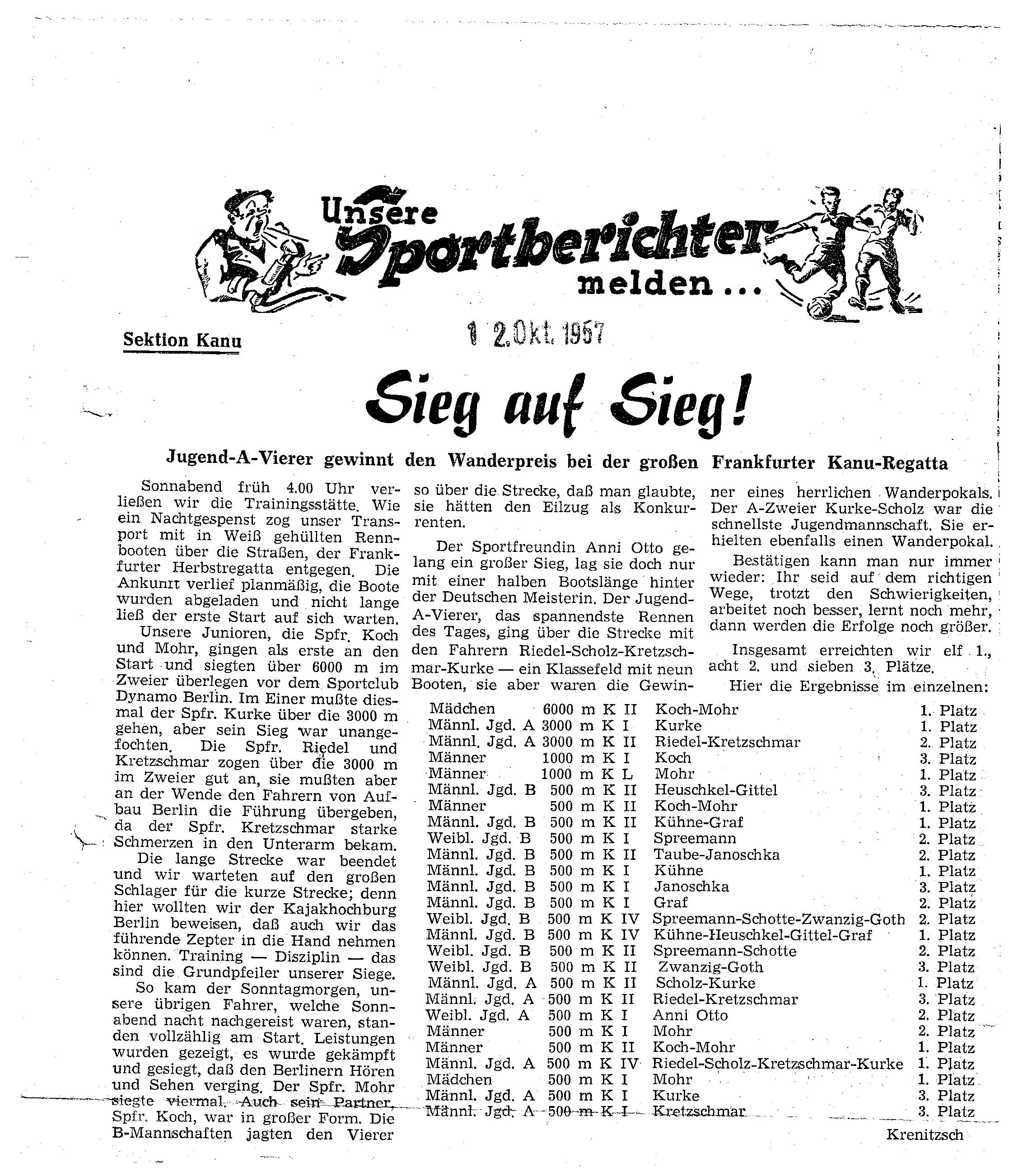 1957-10-12 Sportberichter Sieg auf Sieg