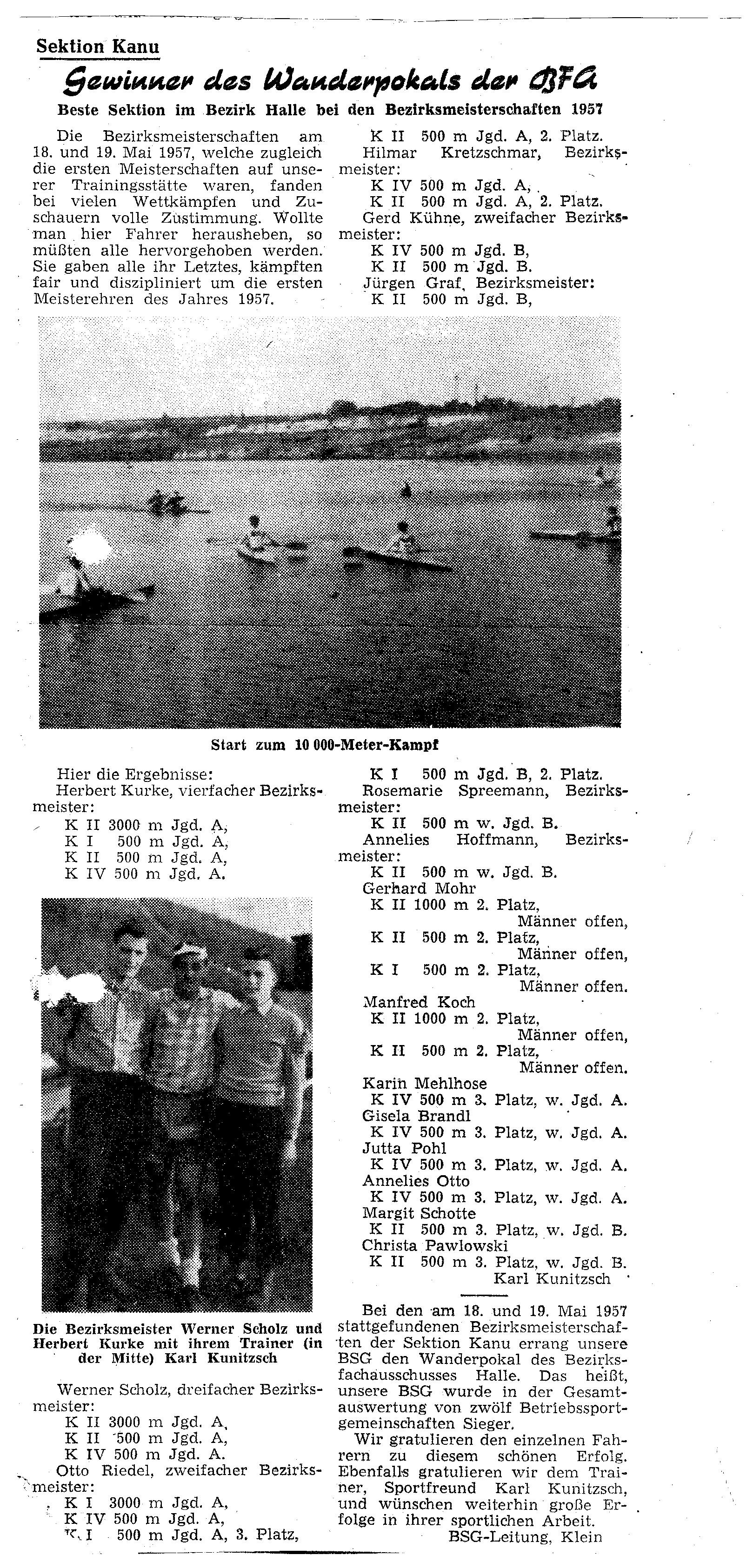 1957 Gewinner des Wanderpokals der BFG
