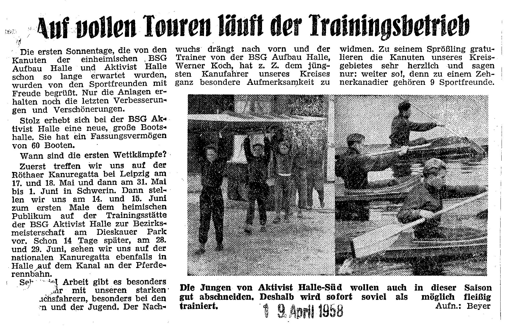 1958-04-19 Trasse Auf vollen Touren läuft der Trainingsbetrieb