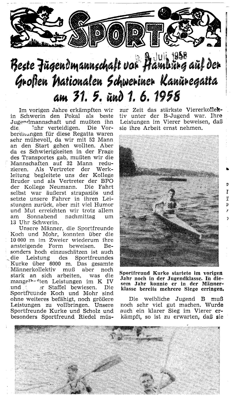 1958-06-01 Sport Beste Jugendmannschaft von Hamburg auf der großen nationalen Schweriner Kanuregatta