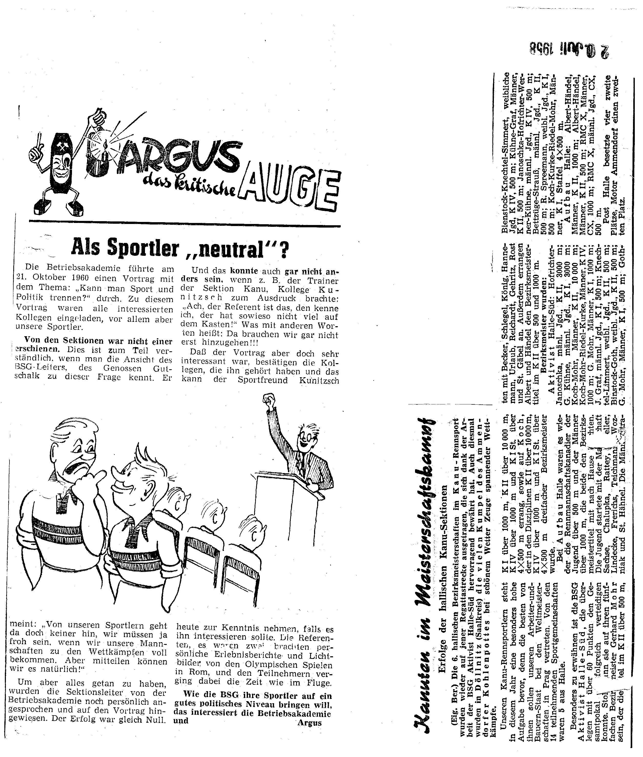 1958-07-20 als Sportler neutral, Kanuten im Meisterschaftskampf