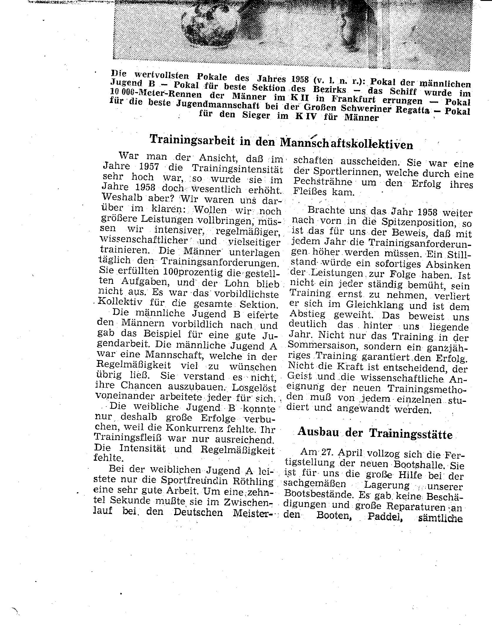 1958 Trainingsarbeit in den Mannschaftskollektiven