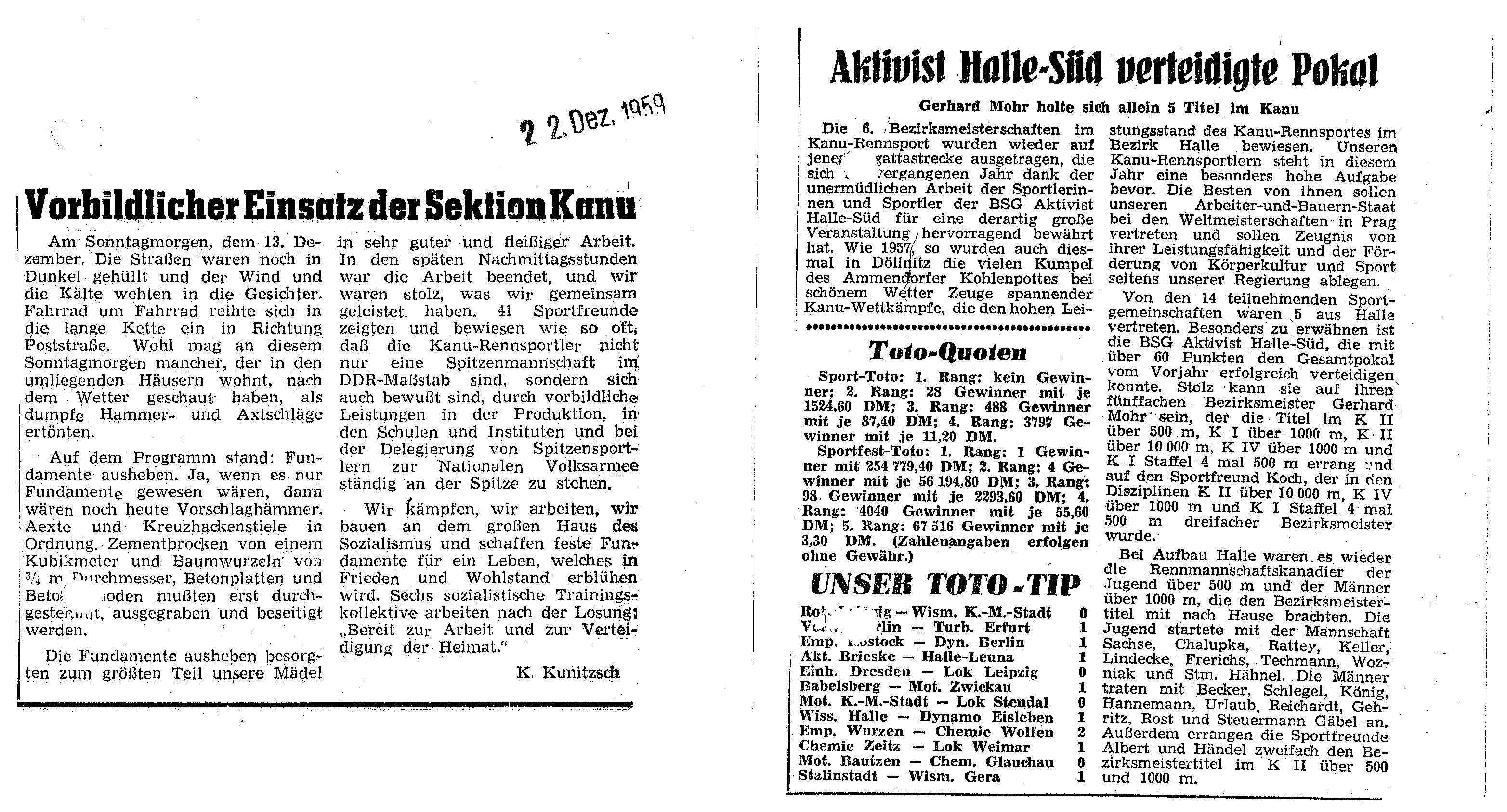 1959-12-22 Vorbildlicher Einsatz der Sektion Kanu