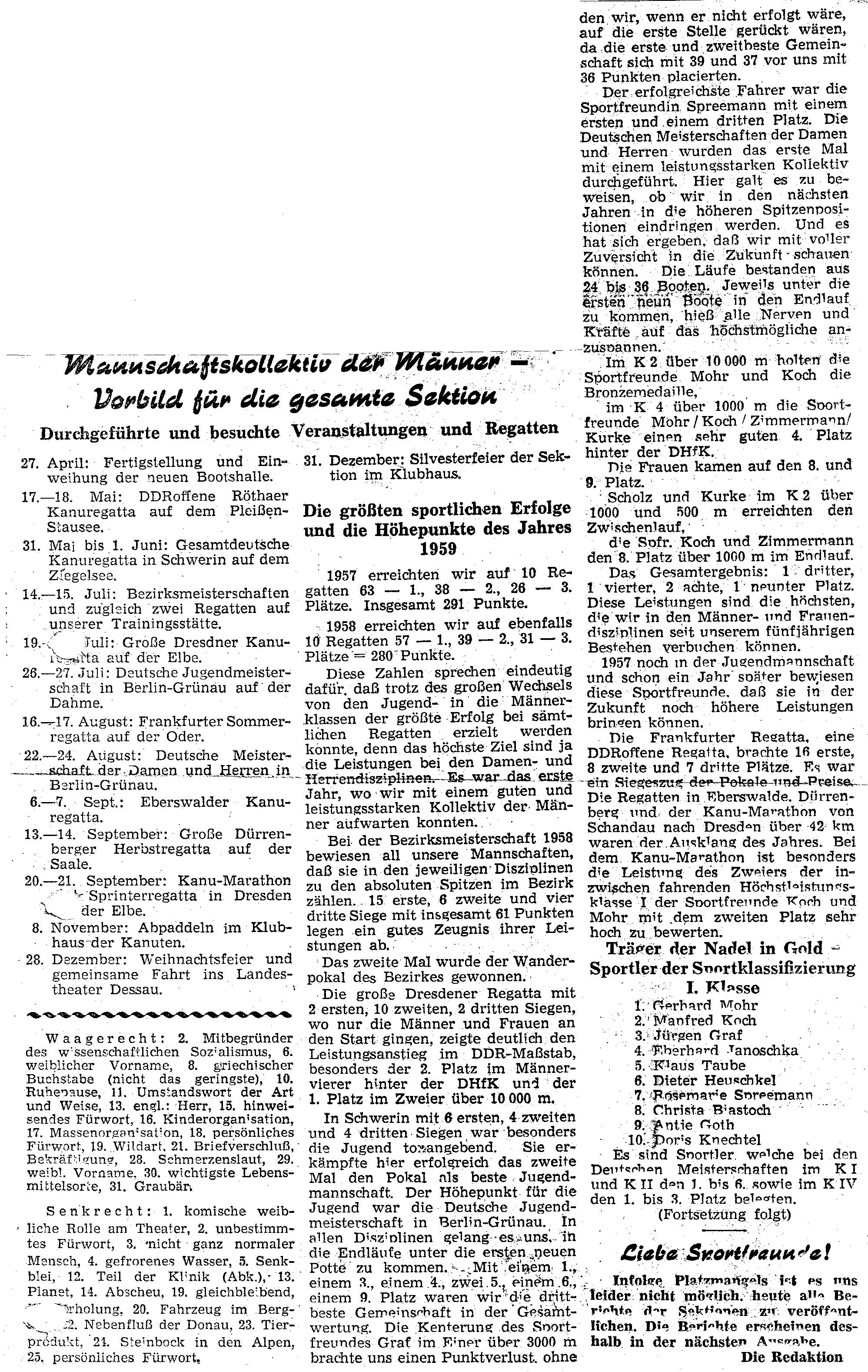 1959 Mannschaftskollektiv der Männer- Vorbild für die gesamte Sektion