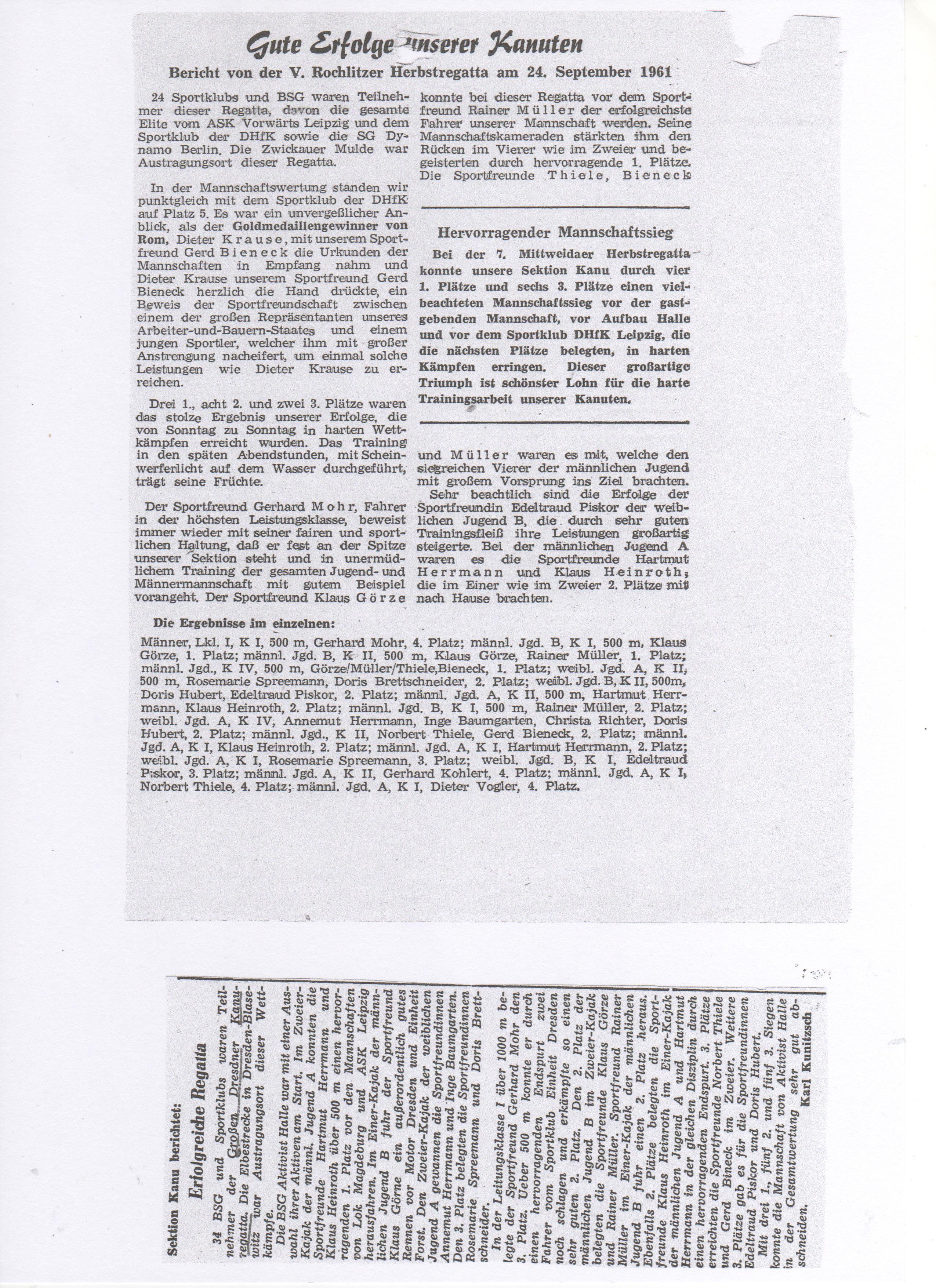 1961-09-24 Gute Erfolge unserer Kanuten