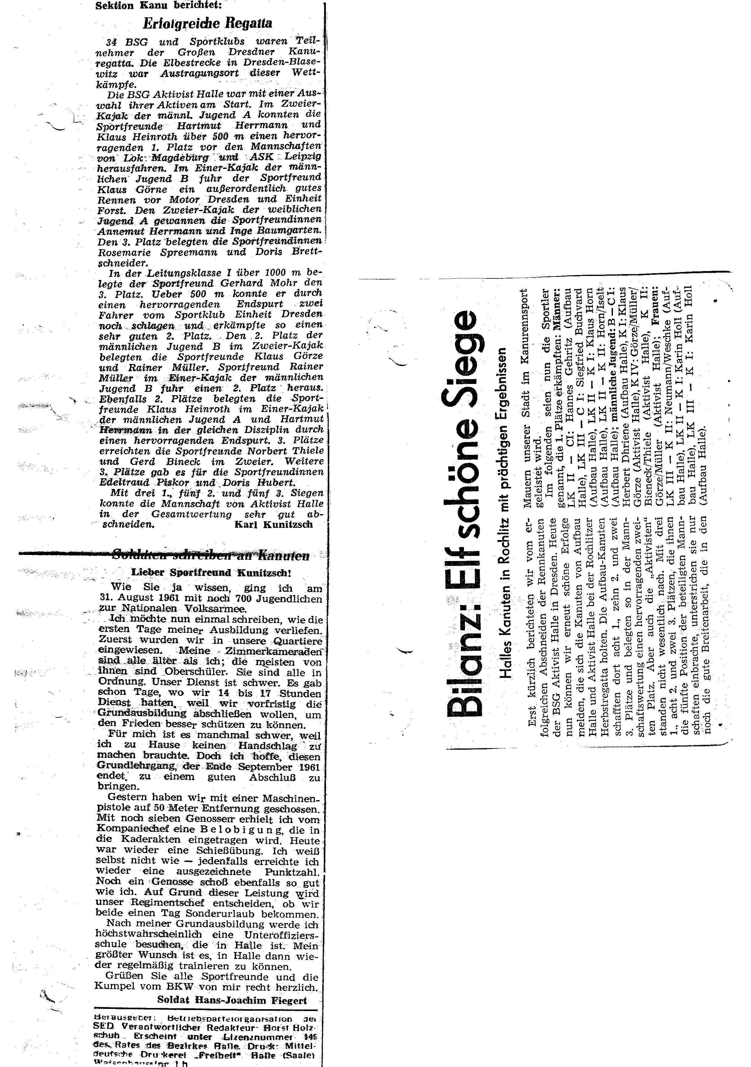1961 Bilanz Elf schöne Siege