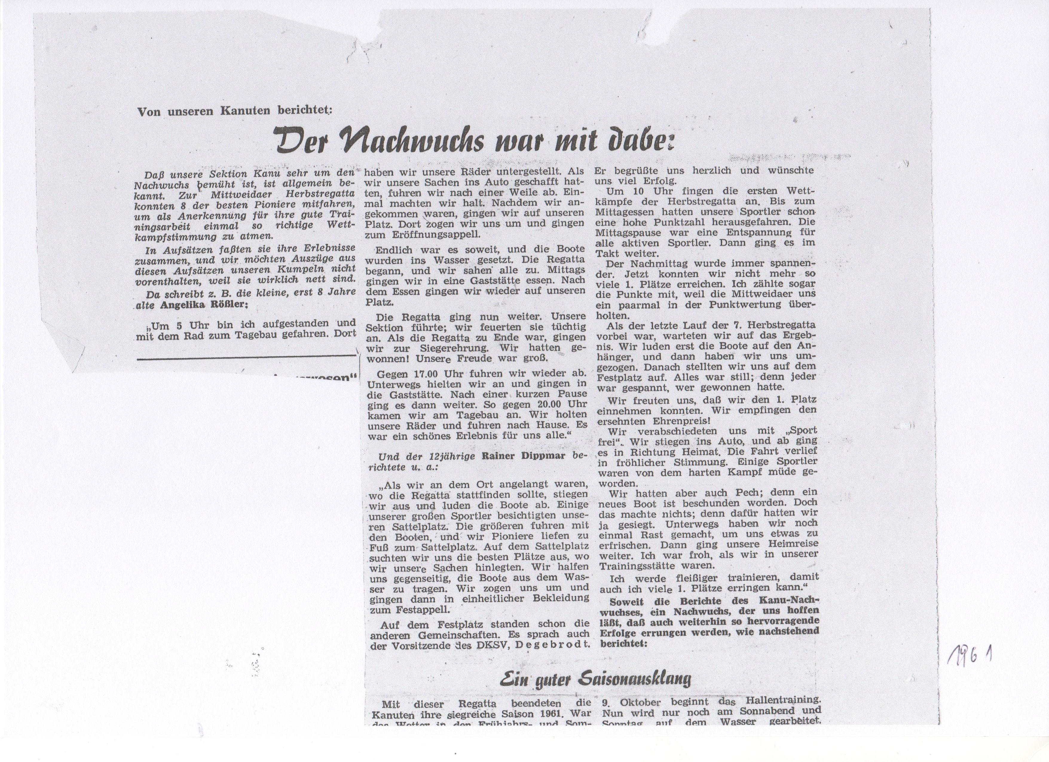 1961-Der Nachwuchs war mit dabei