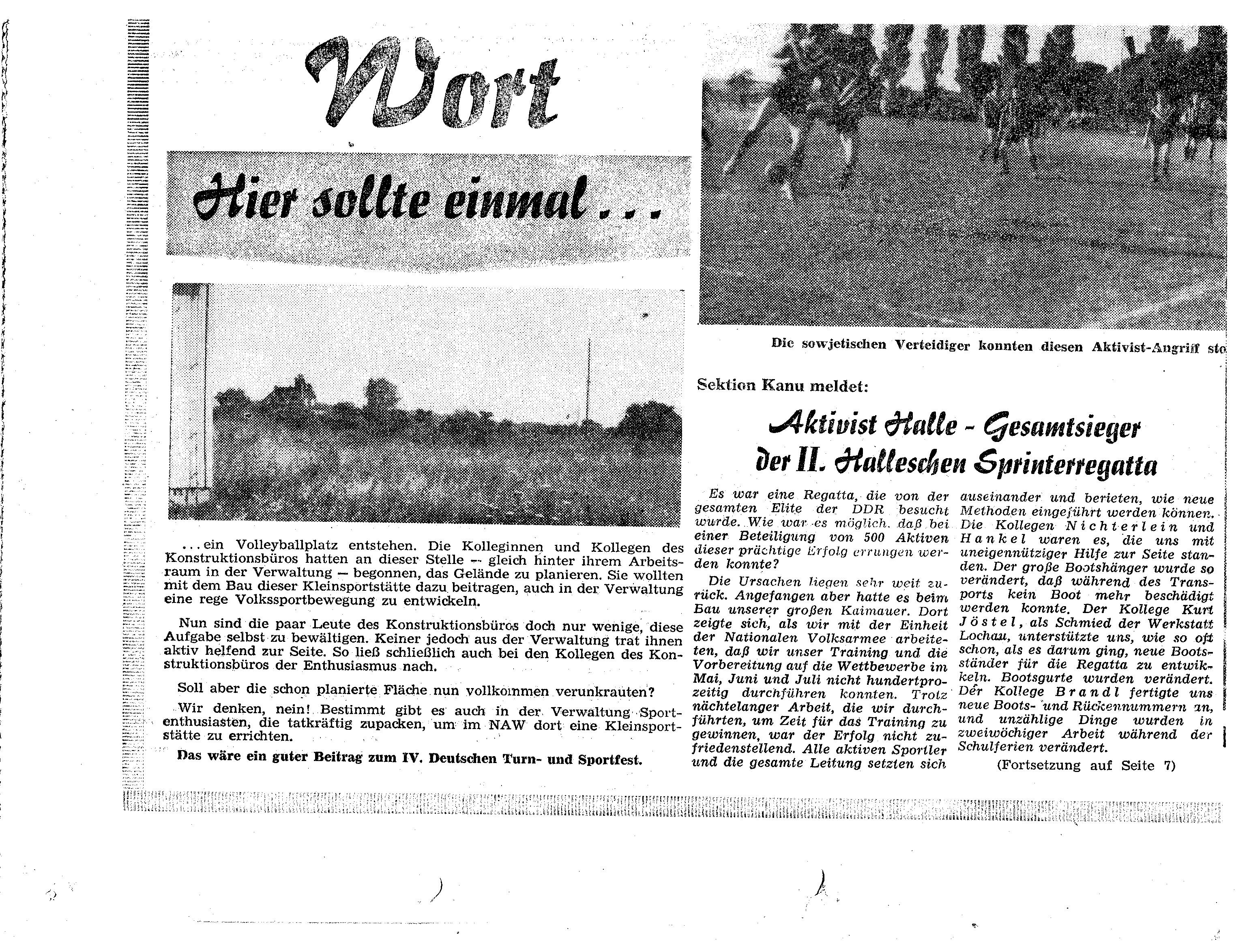 1962 ... Aktivist Halle - Gesamtsieger bei der 2 Halleschen Sprintregatta