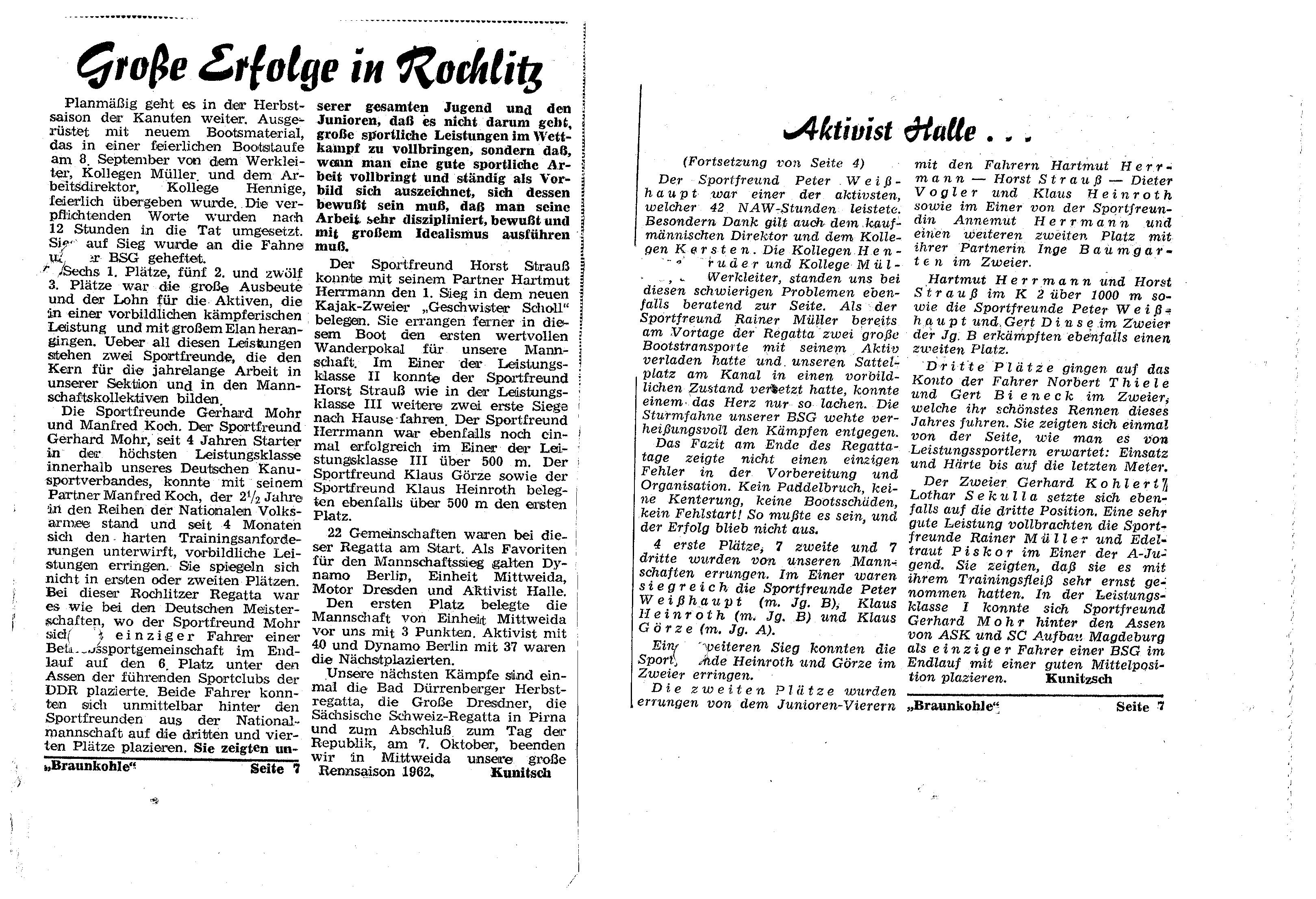 1962 Große erfolge in Rochlitz, Aktivist Halle