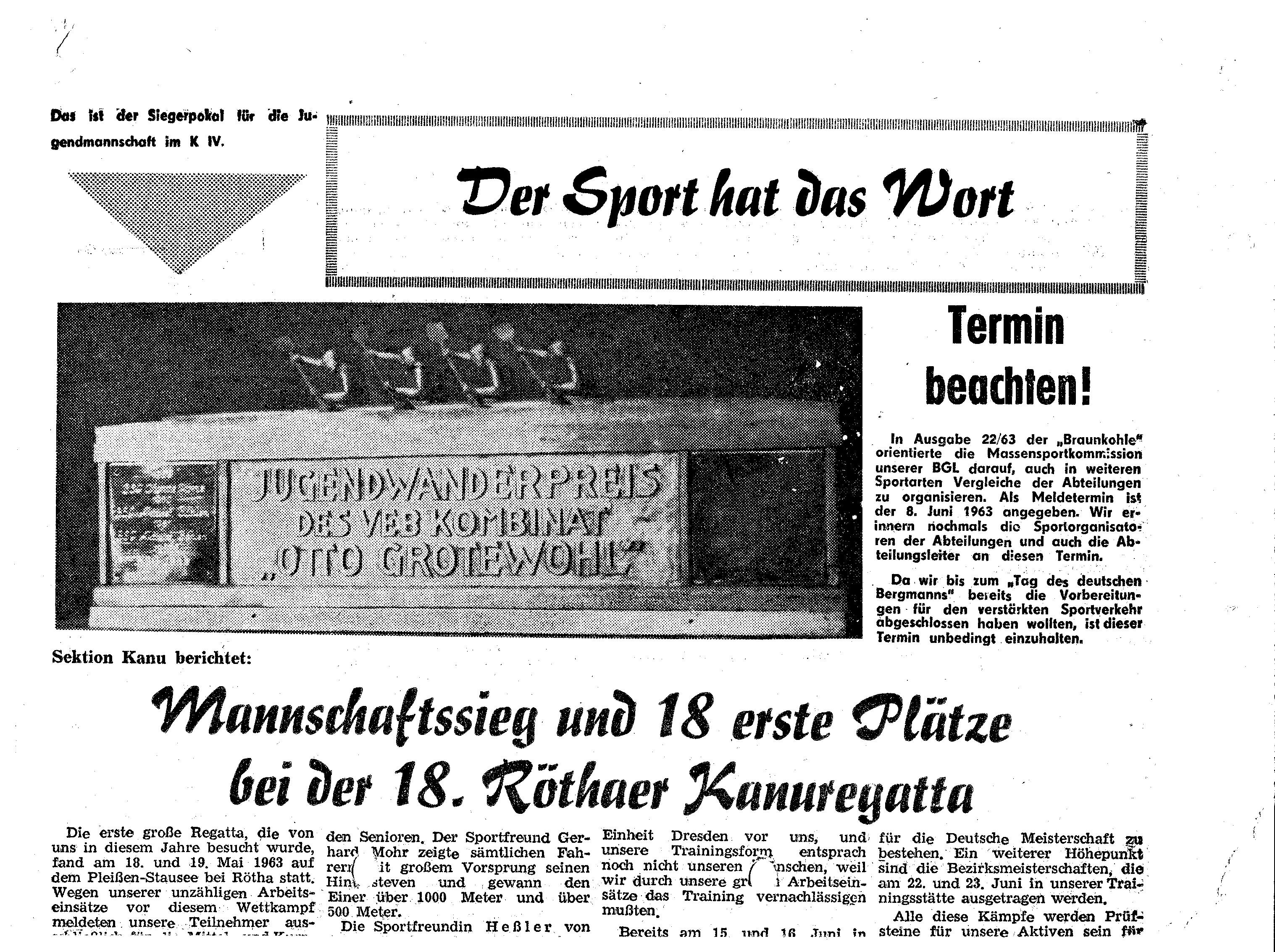 1963-06 Mannschaftssieg und 18 erste Plätze Rötha
