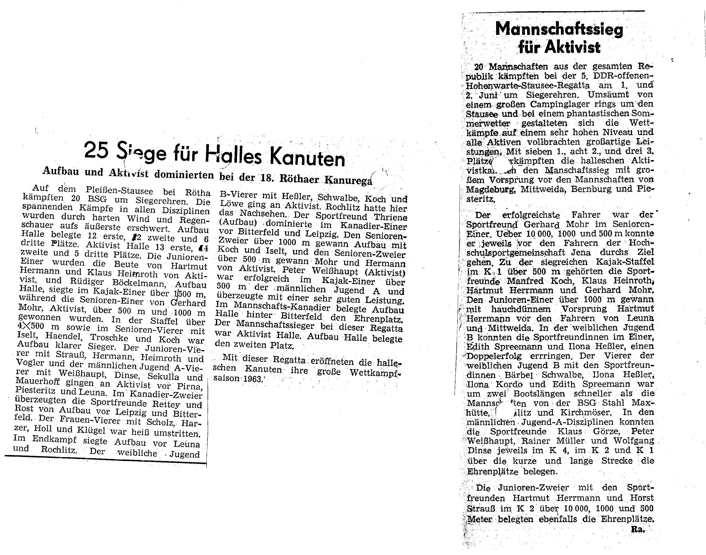 1963-06.02 Mannschaftssieg für Aktivist, 25 siege für Halles Kanuten
