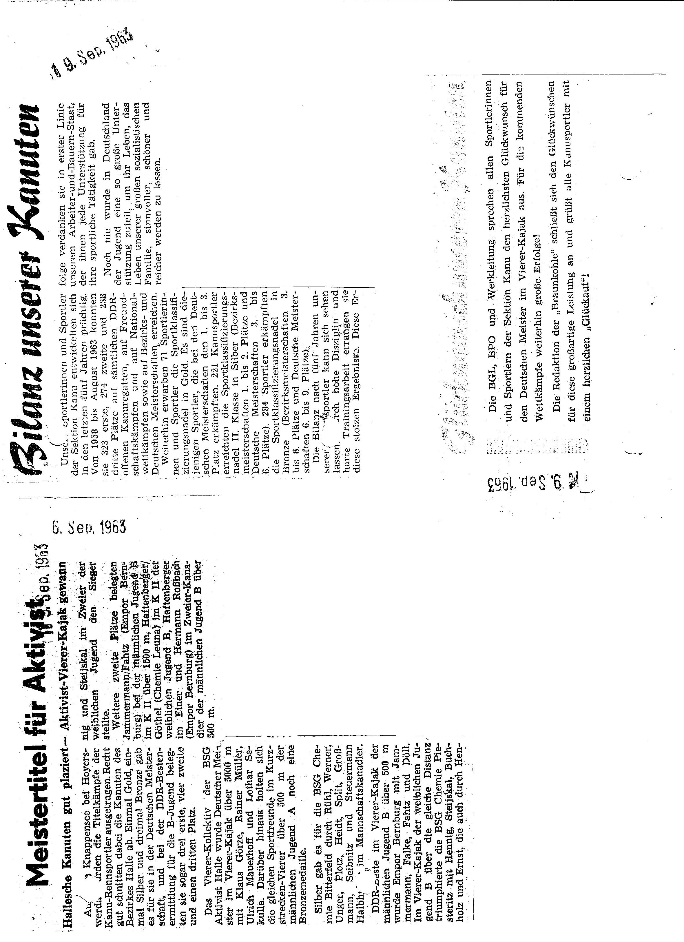 1963-09-09 Meistertitel für Aktivist, Bilanz unserer Kanuten