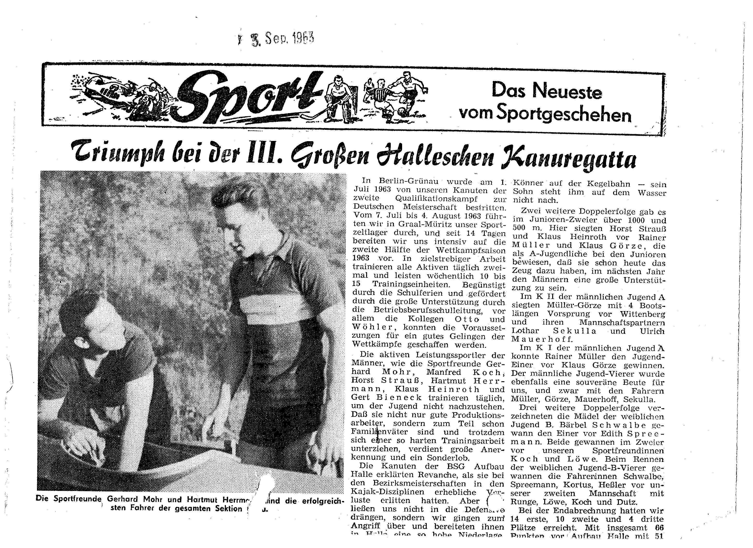 1963-09-13 Triumph bei der 3 großen Halleschen Kanuregatta