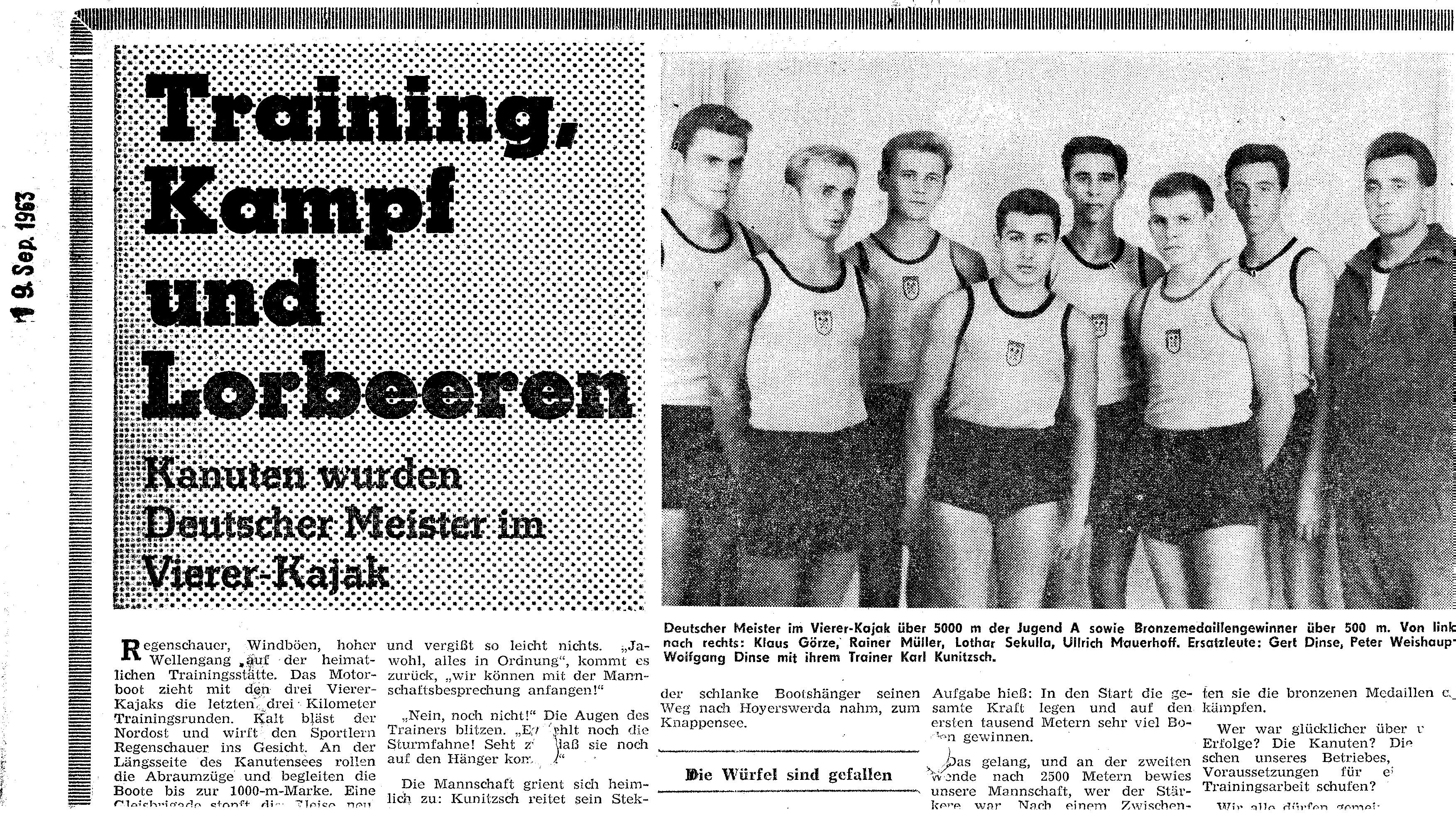 1963-09-19 Training, Kampf und Lorbeeren