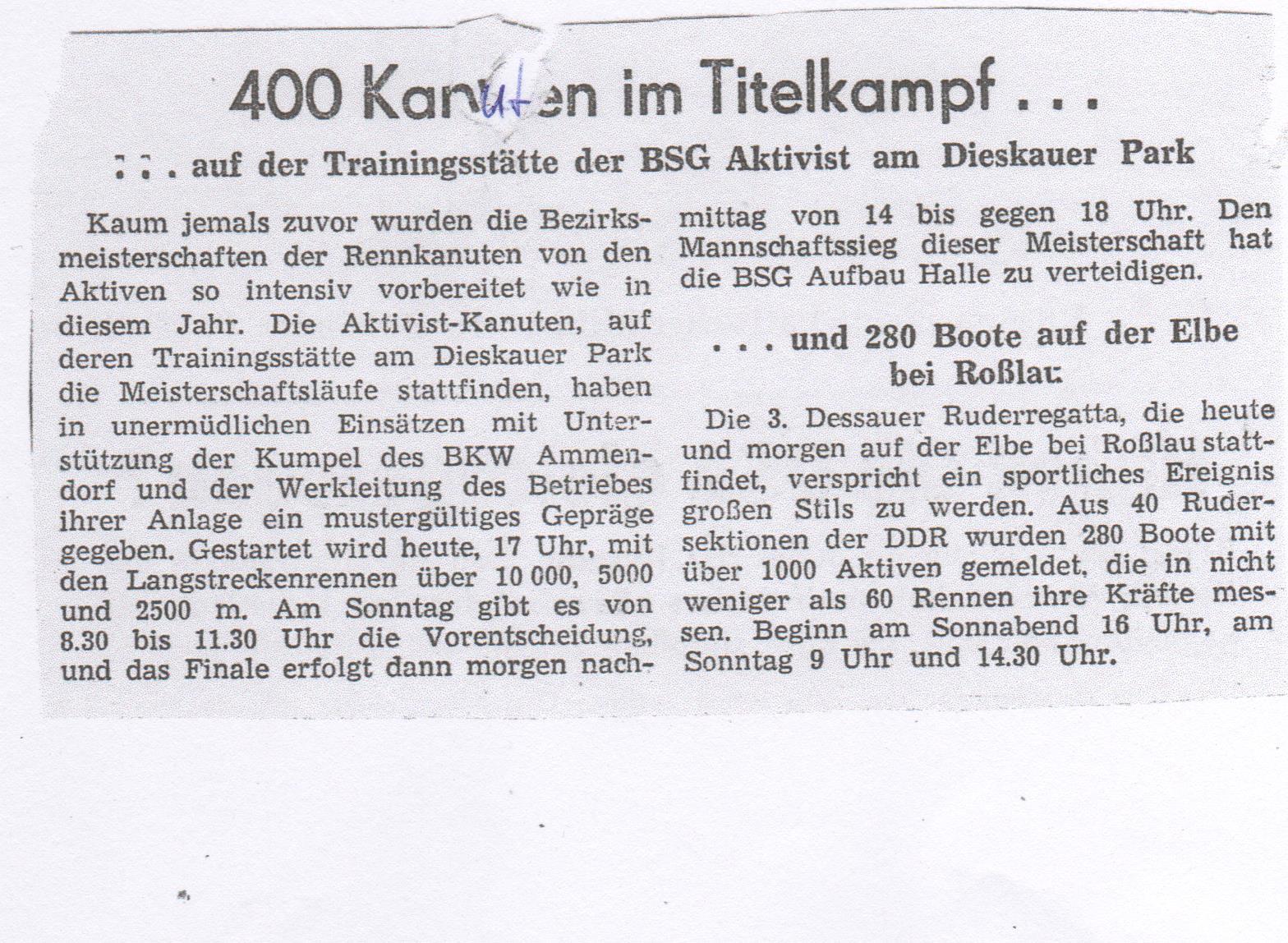 1963 400 Kanuten im Titelkampf