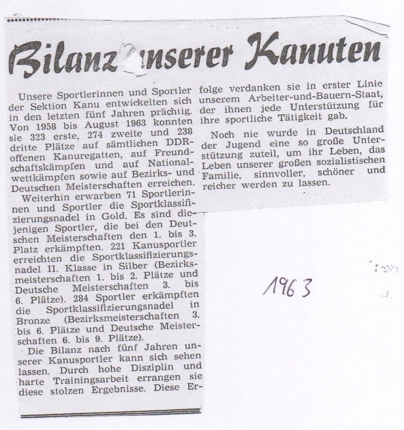 1963- Bilanz unserer Kanuten-letzte 5Jahre