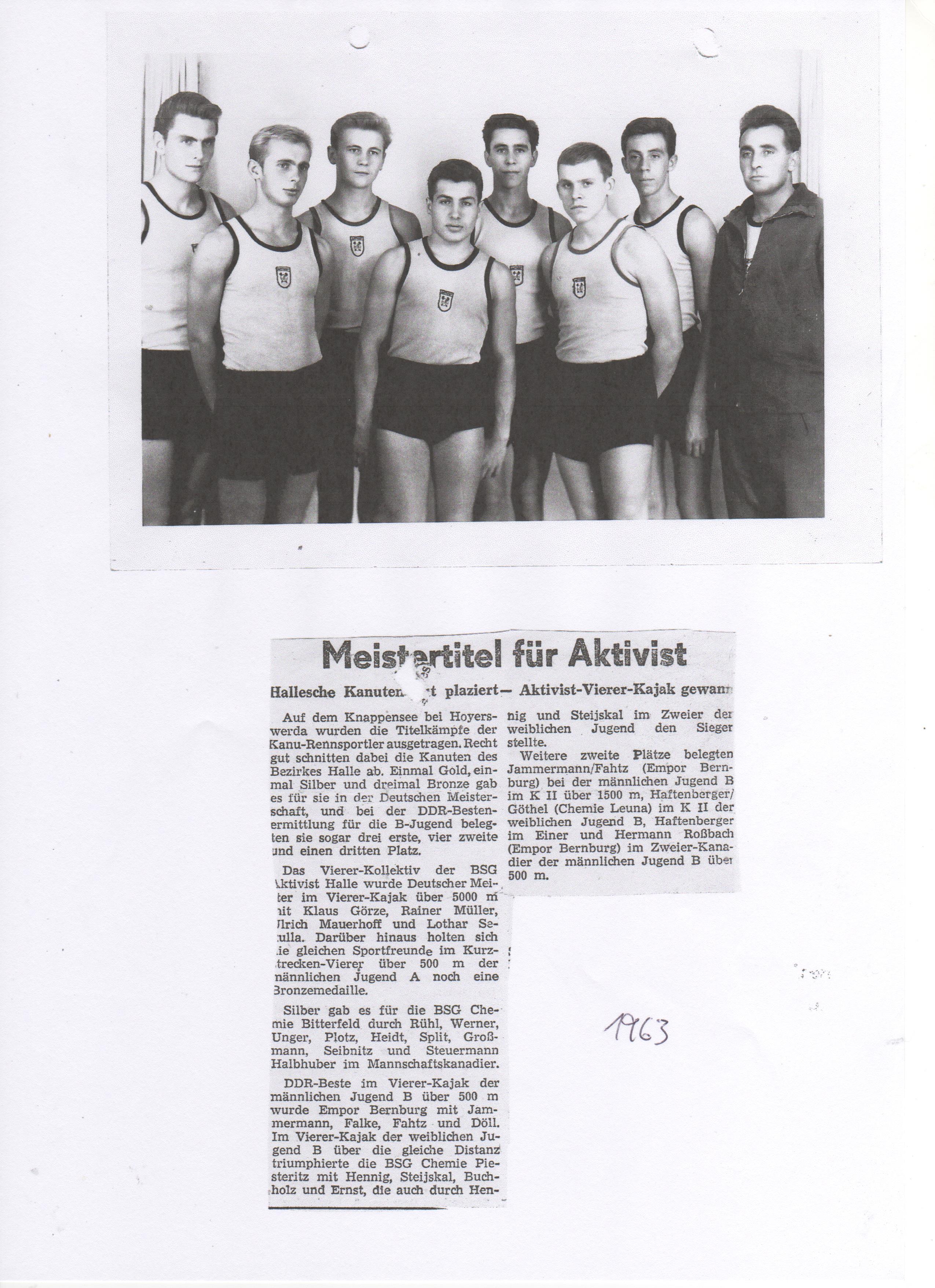 1963 Meistertitel für Aktivist