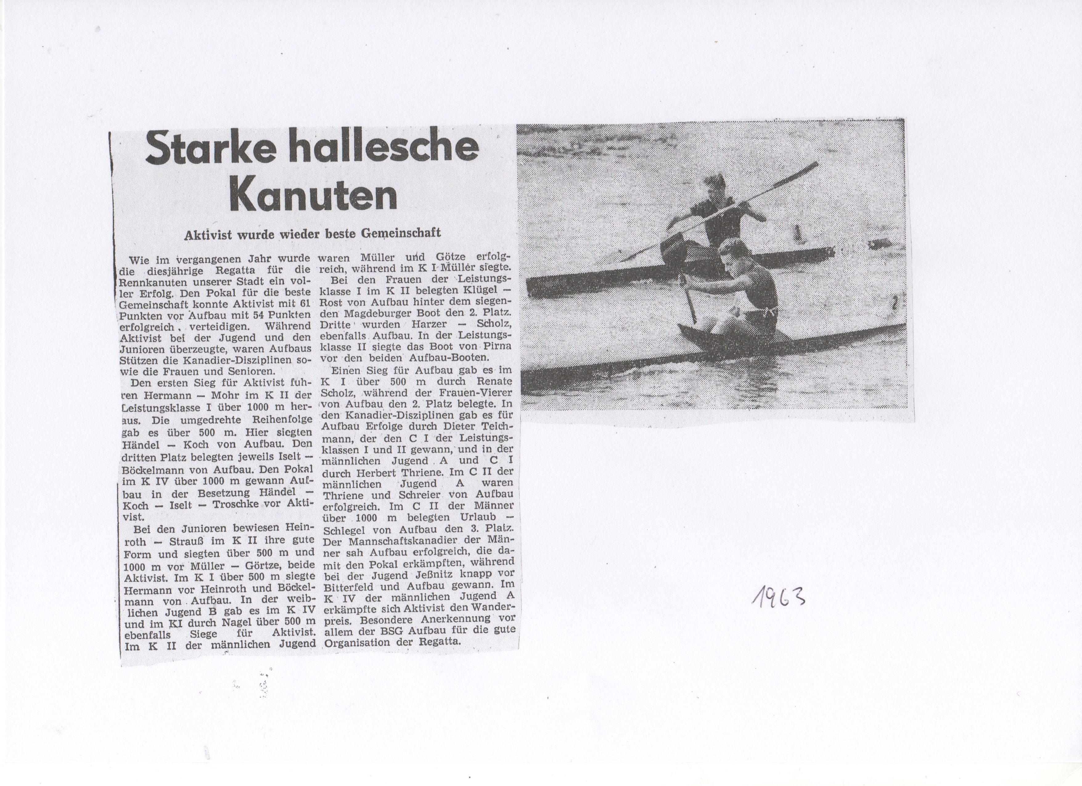1963 Starke hallesche Kanuten