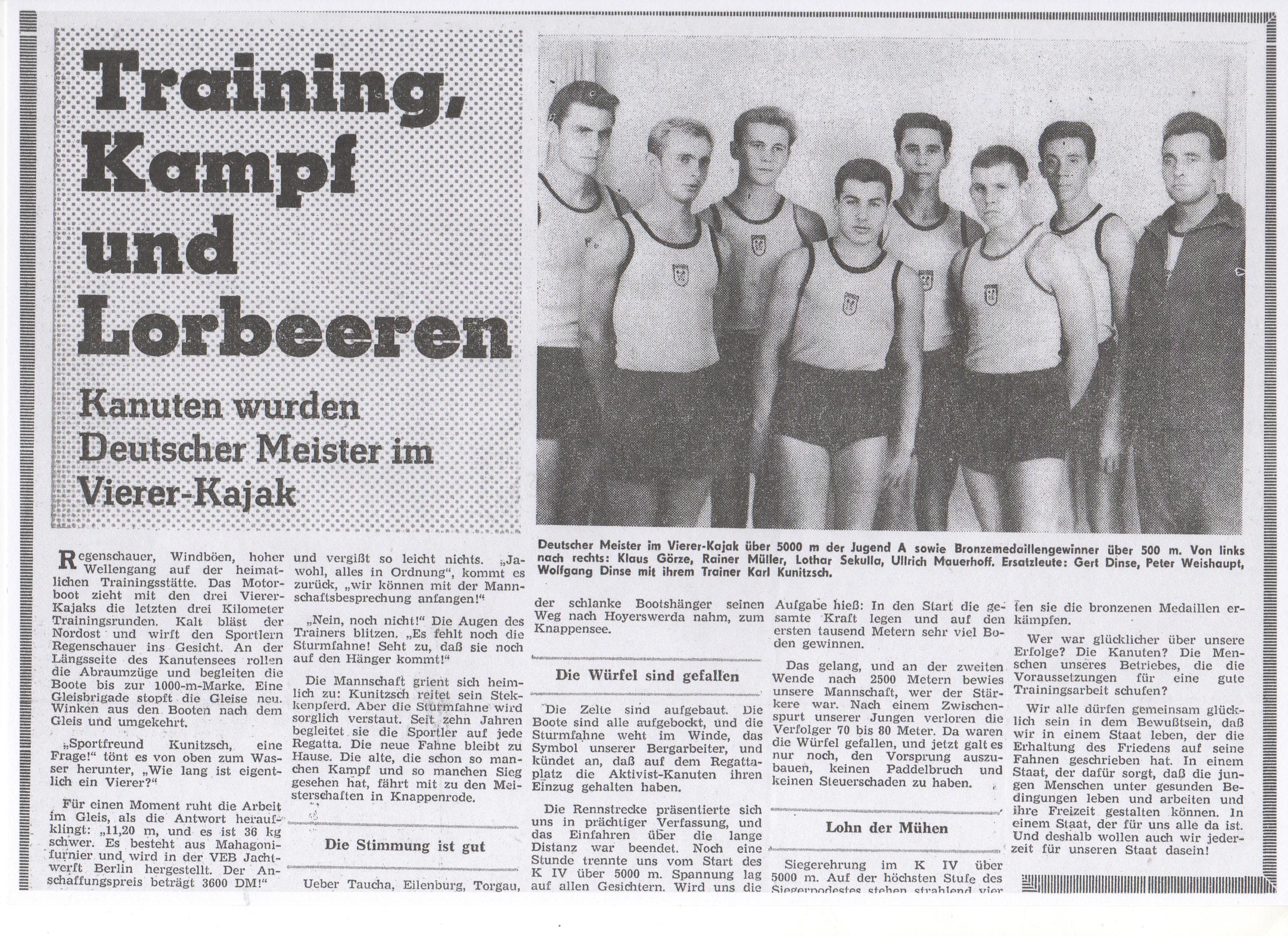 1963-Training, Kampf und Lorbeeren-Kanuten wurden Deutscher Meister im Vierer-Kajak (1)