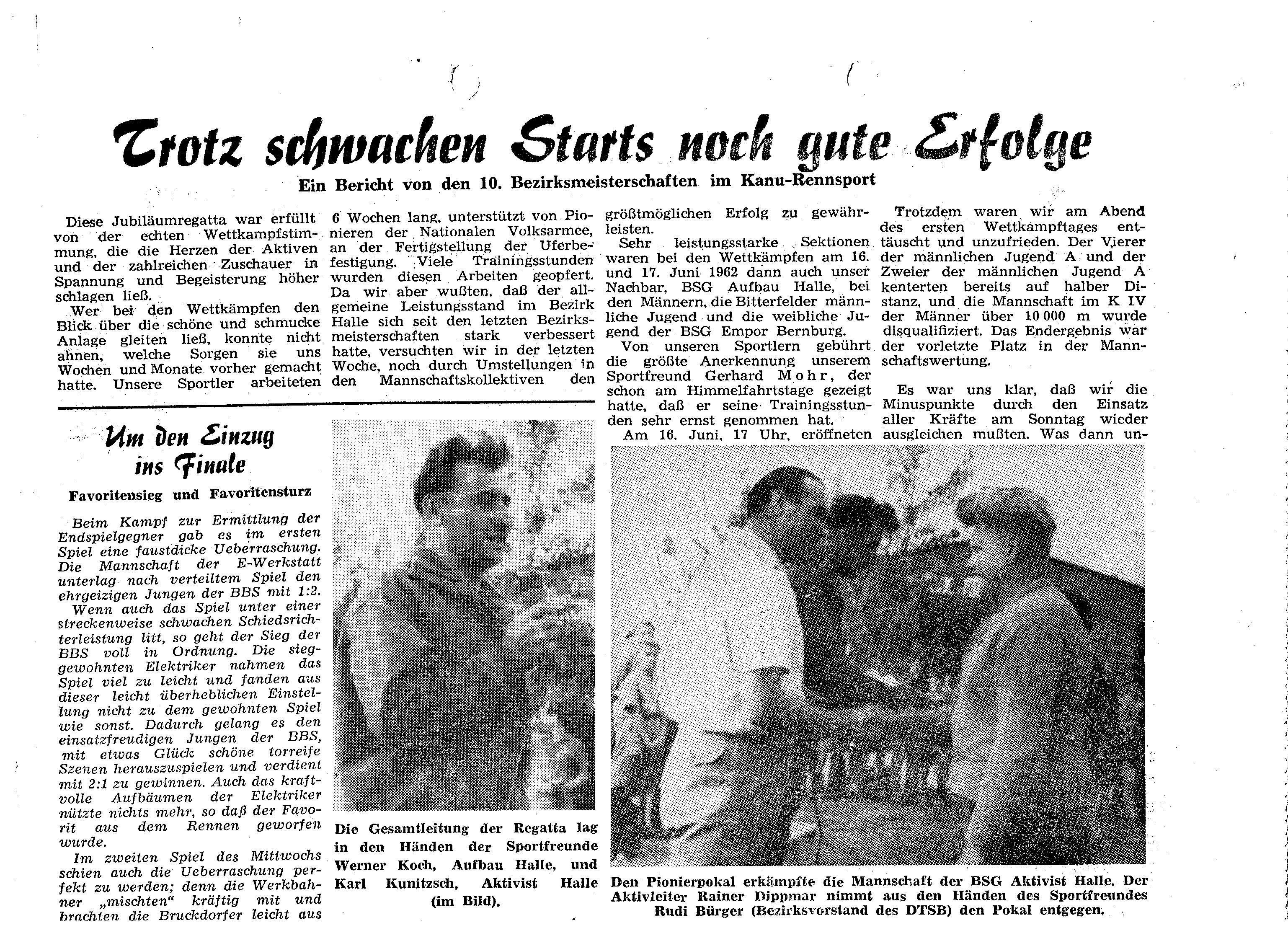 1963 Trotz schwachen Starts noch gute Erfolge