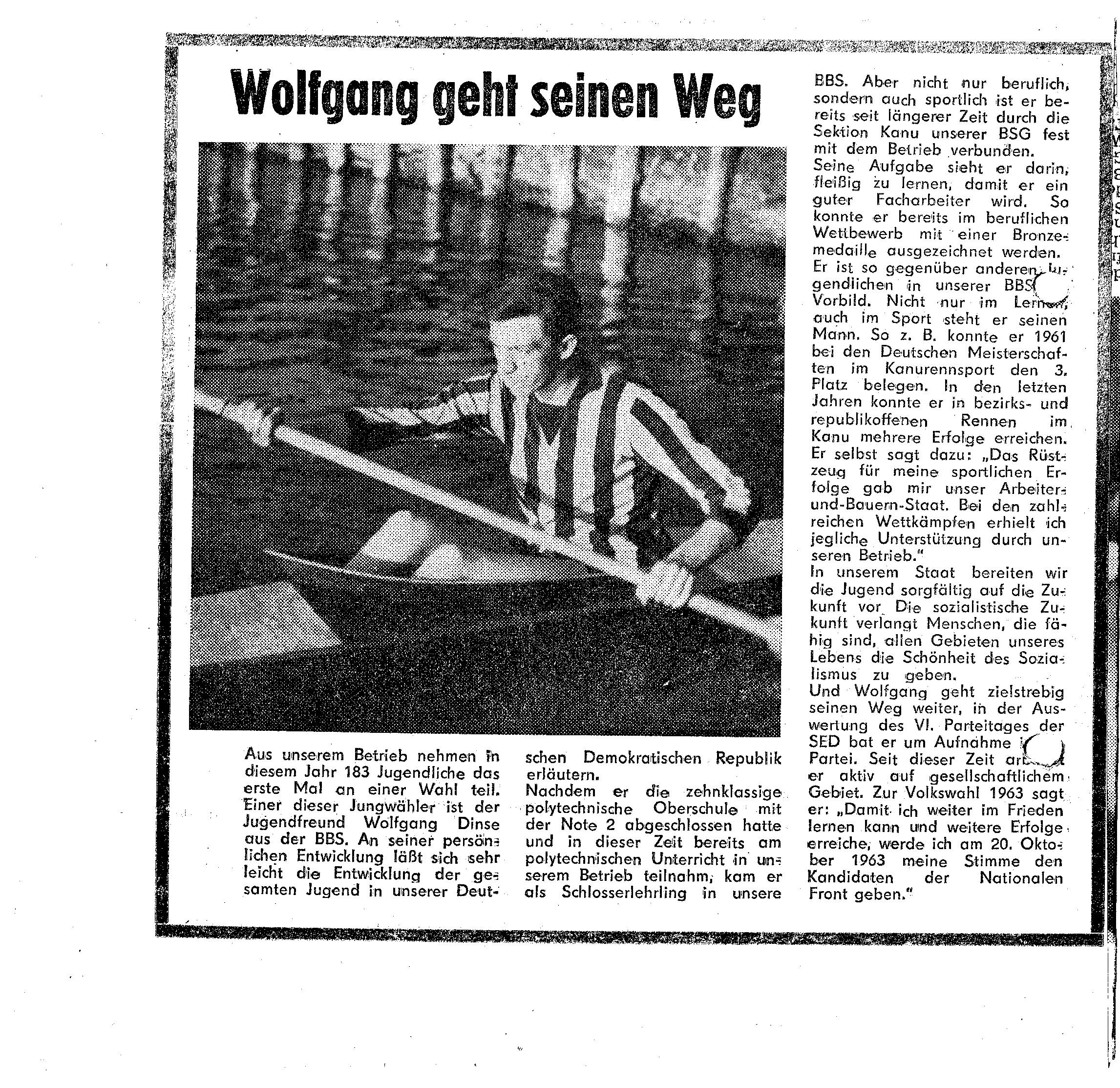 1963 Wolfgang Dinse geht seinen Weg