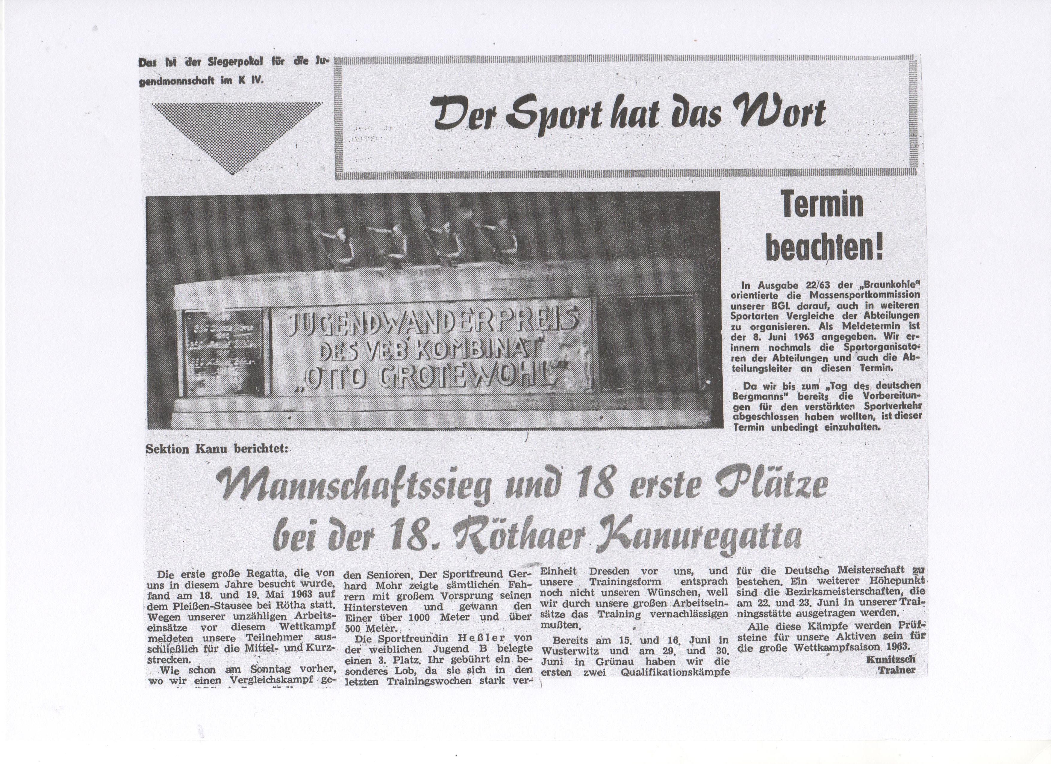 1964-06-23 Mannschaftssieg und 18 erste Plätze bei der 18. Röthaer Kanuregatta (1)