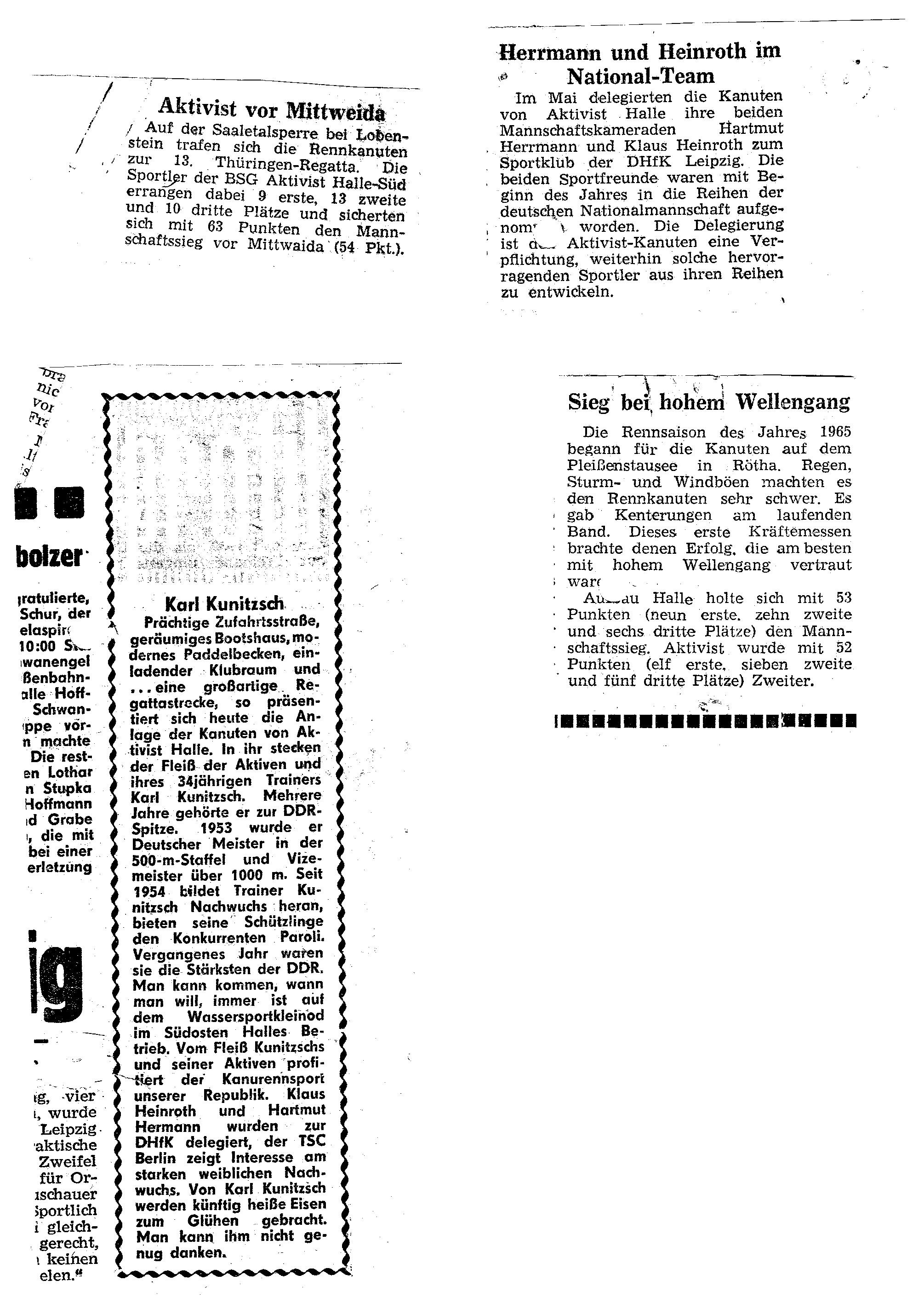 1965 Aktivist vor Mittweida, Herrmann und Heinroth im Nationalteam