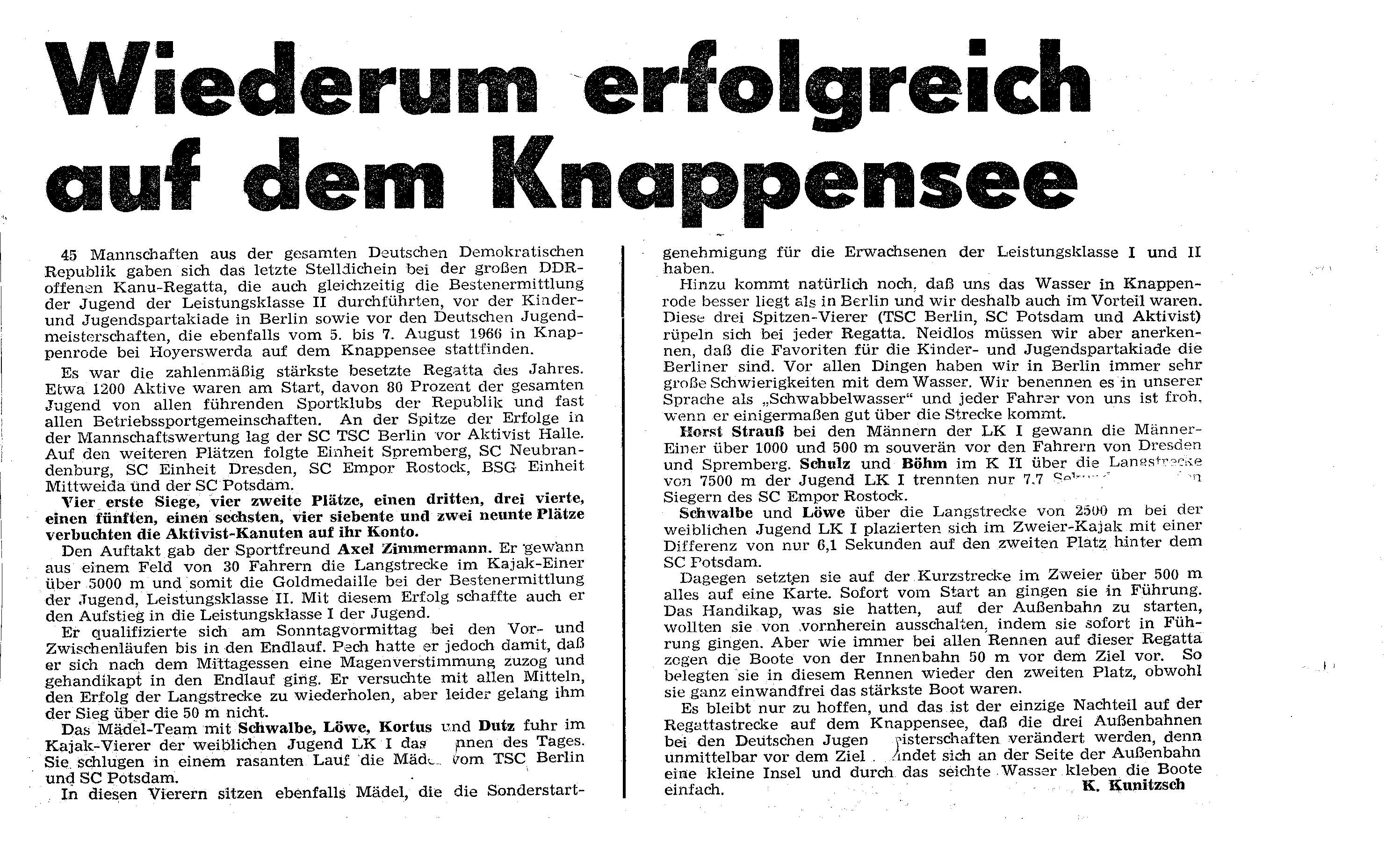 1966-08-07 Wiederum ergolgreich auf dem Knappensee