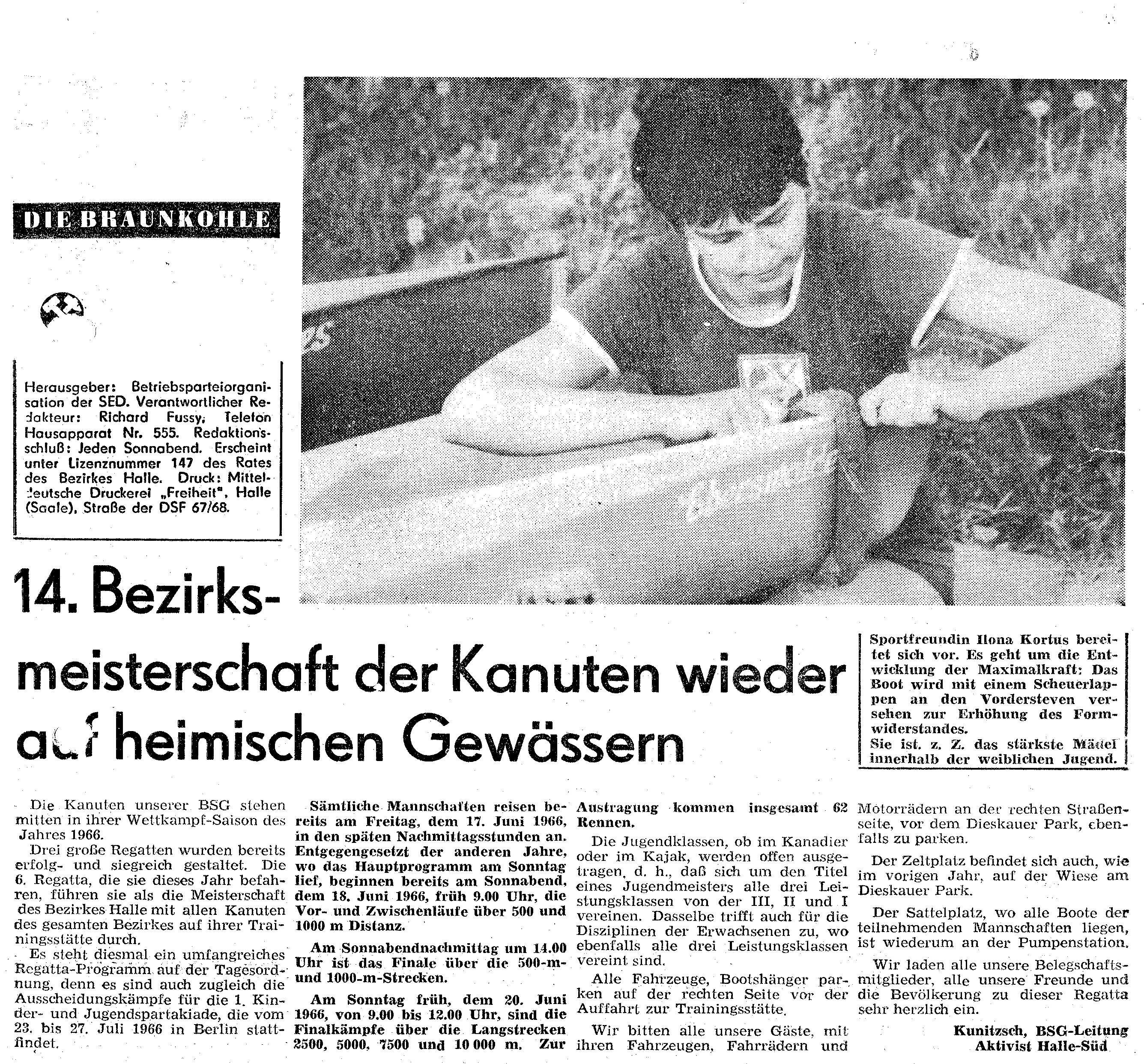 1966 14. Bezirksmeisterschaft der Kanuten