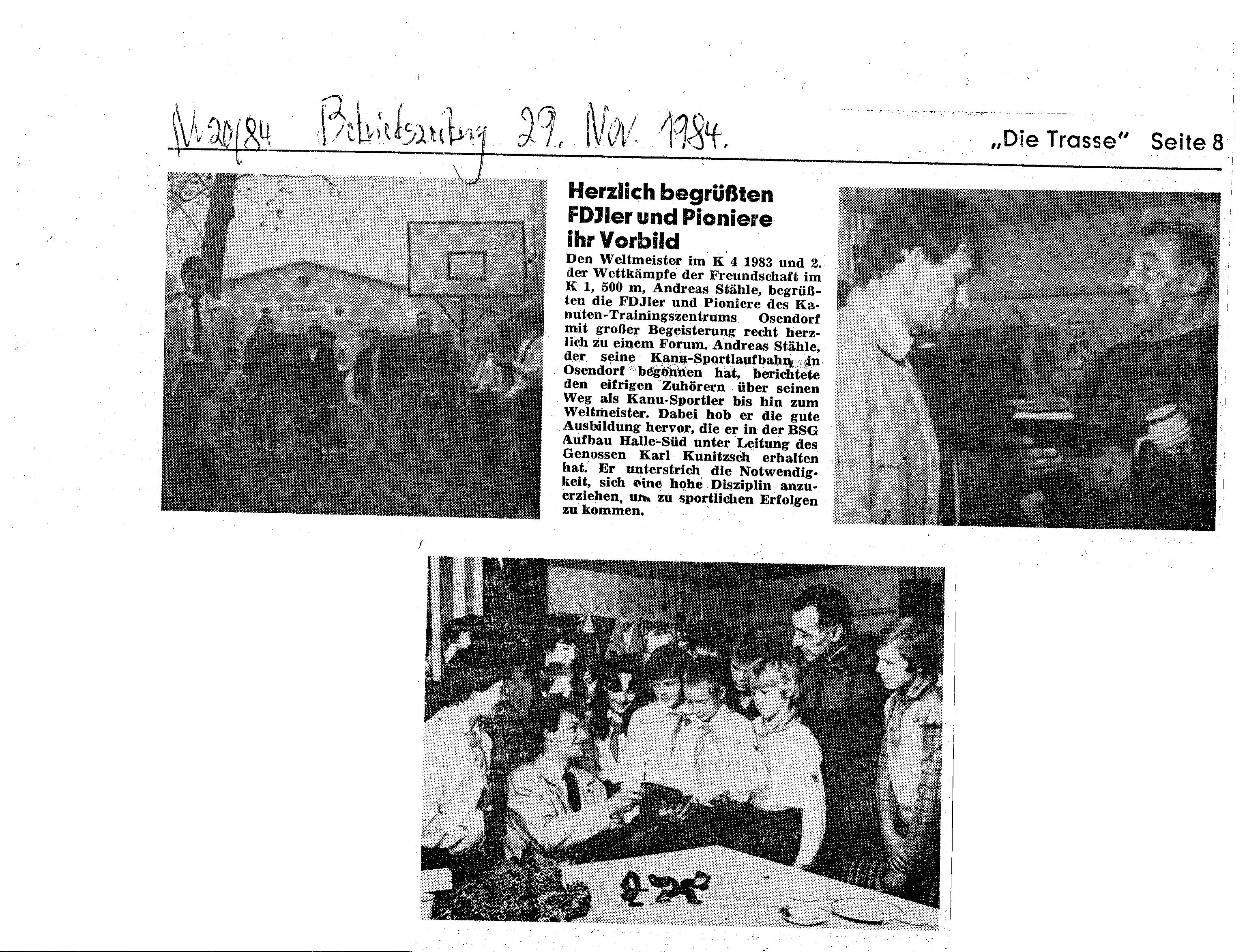 1984-11-29 Die Trasse- Herzlich begrüßten FDJler und Pioniere ihr Vorbild