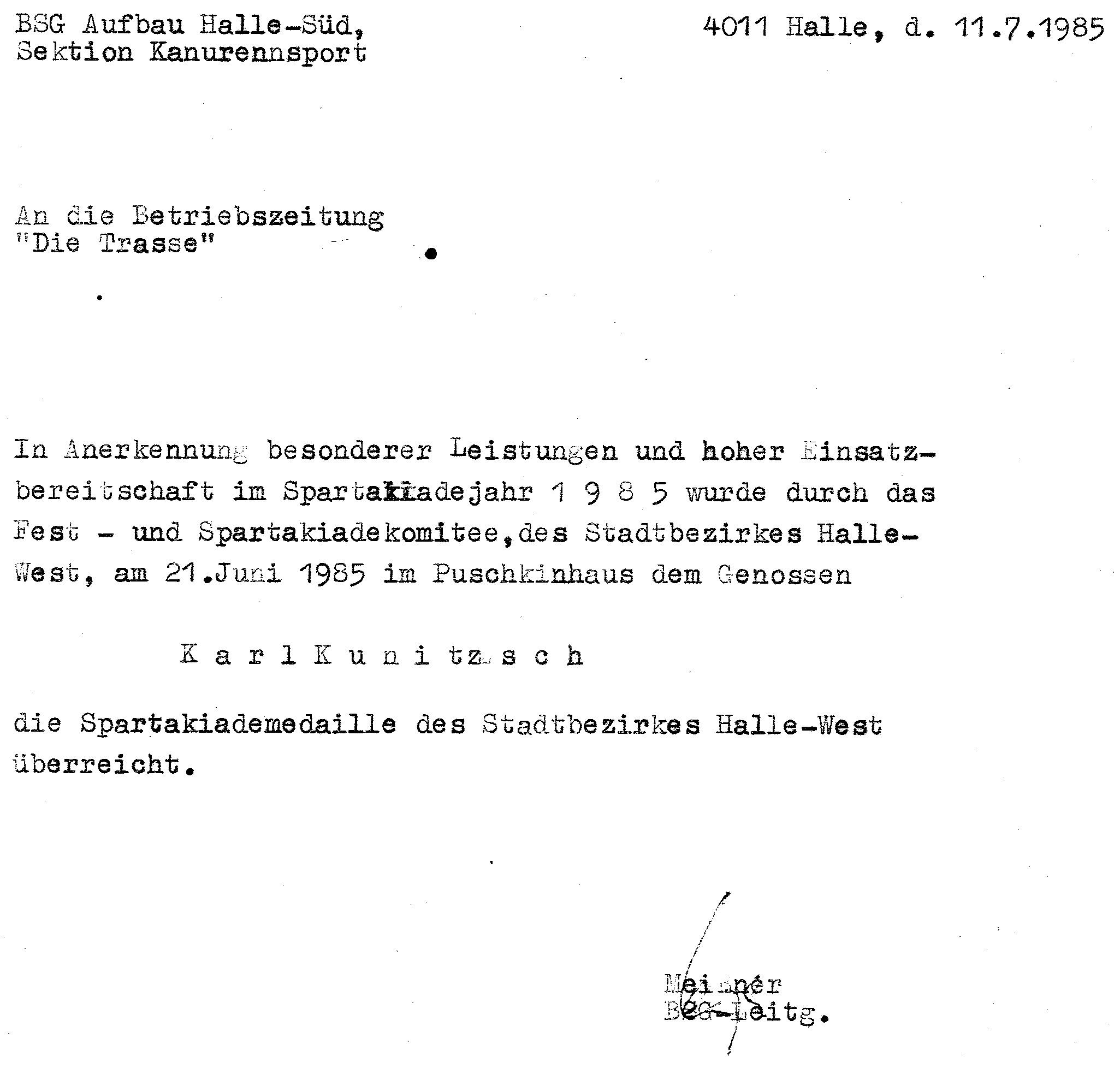 1985-07-11 Spartakiademedaille KK