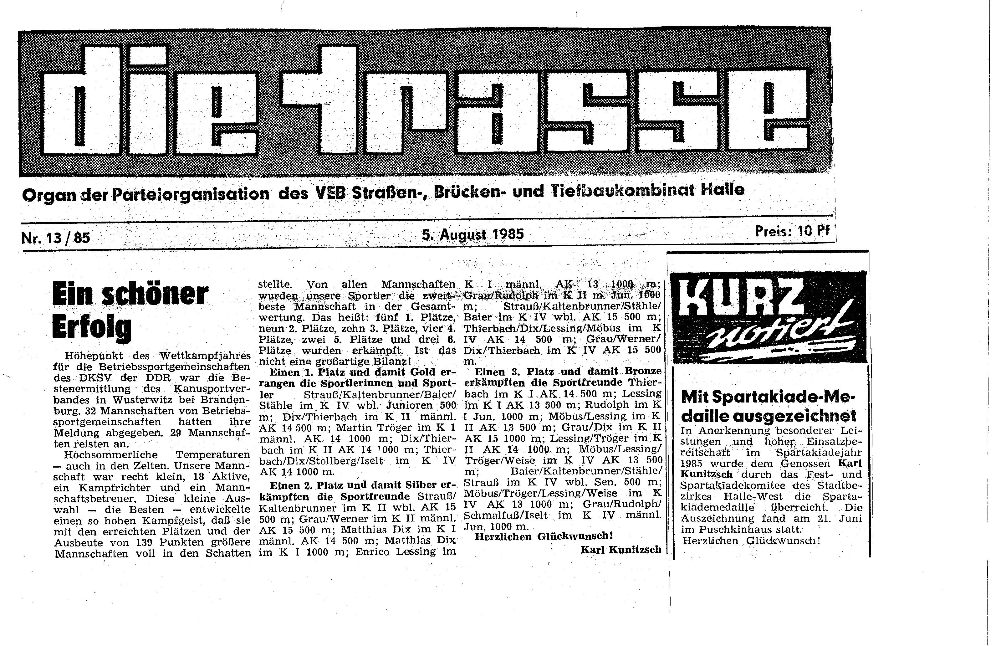 1985-08-05 Trasse Ein schöner Erfolg