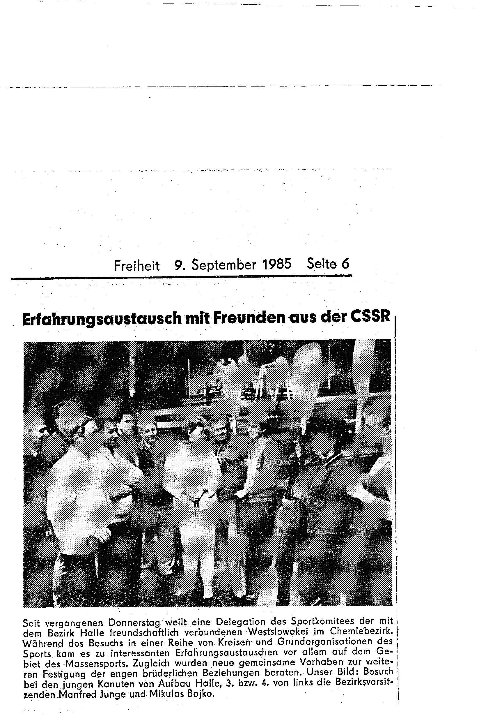 1985-09-09 Freiheit Erfahrungsaustausch mit Freunden aus der CSSR