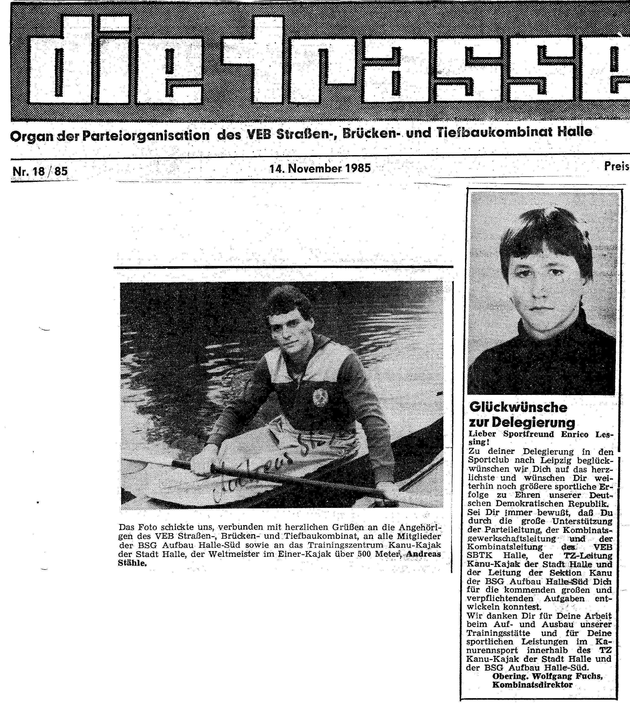 1985-11-14 Trasse Stähle, Enrico Lessing