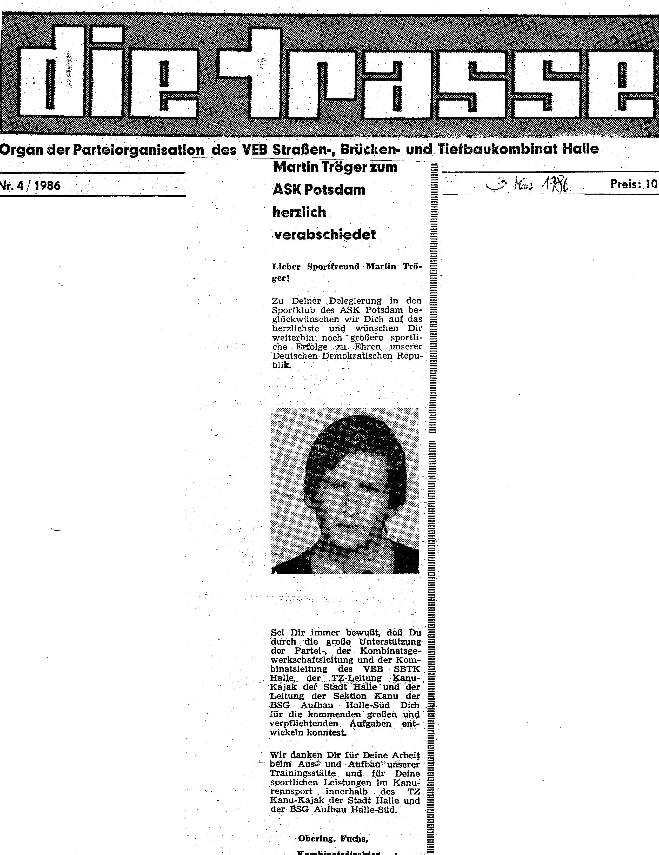 1986-03-03 Trasse Martin Tröger zum ASK Potsdam herzlich verabschiedet