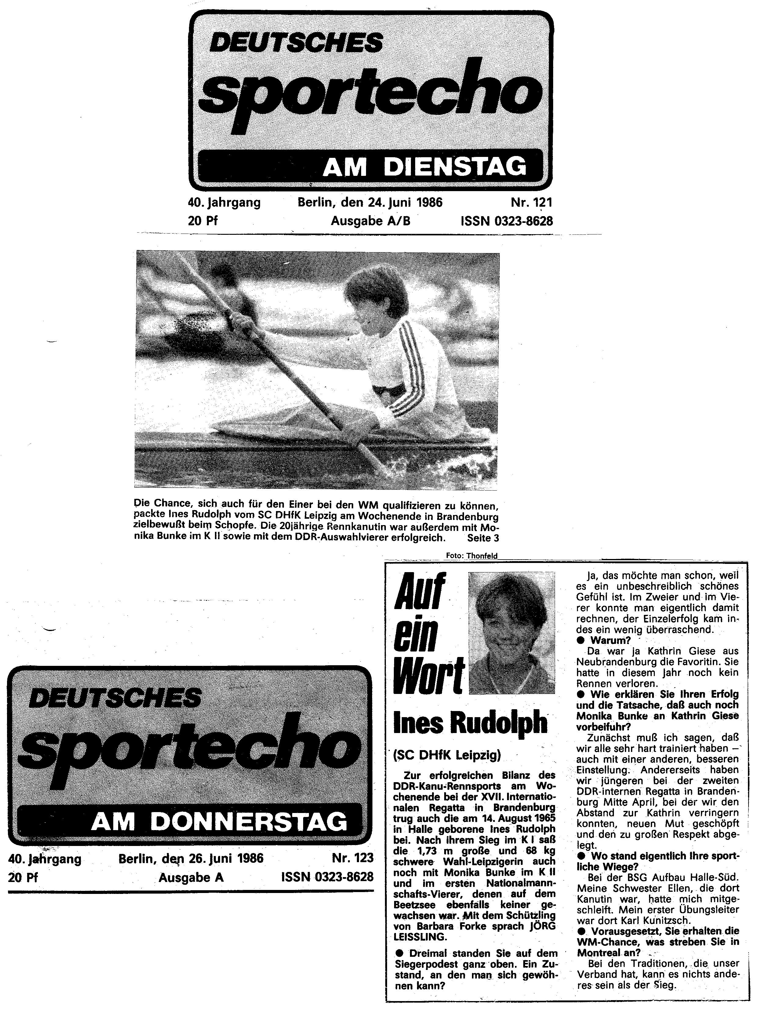 1986-06-26 Sportecho Auf ein Wort mit Ines Rudolph
