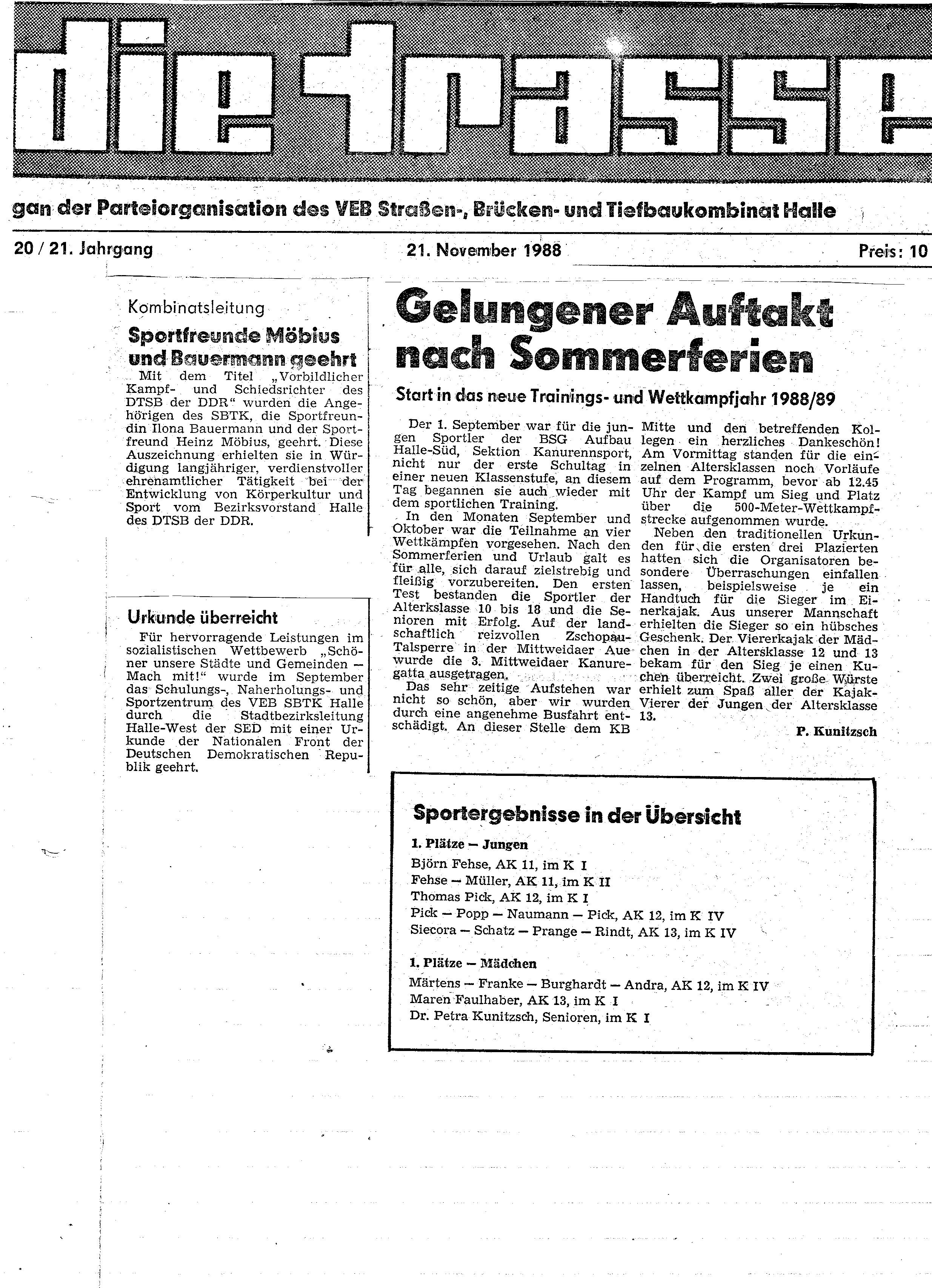 1988-11-21 Trasse Gelungener Auftakt nach Sommerferien