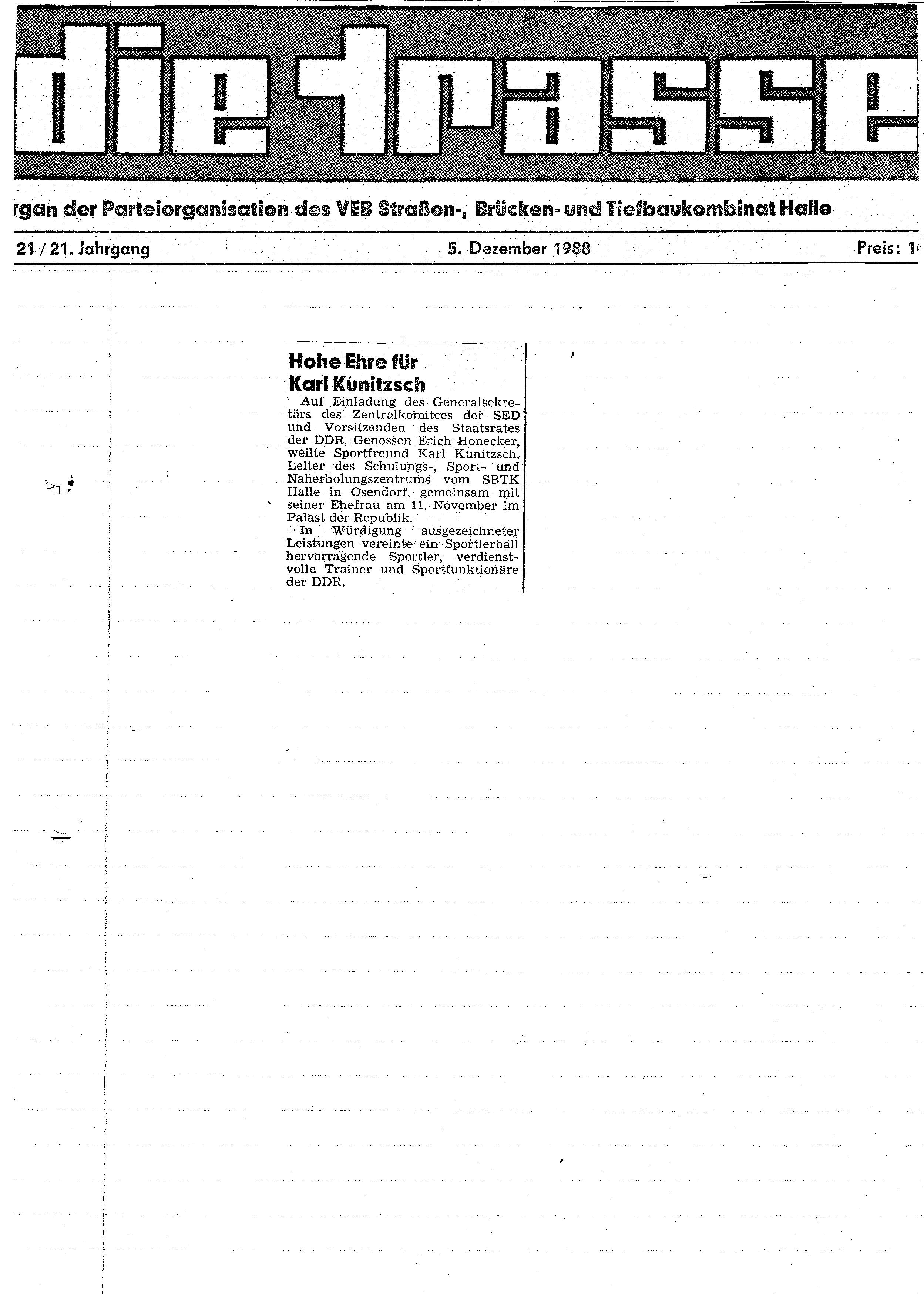 1988-12-05 Hohe Ehre für Karl Kunitzsch