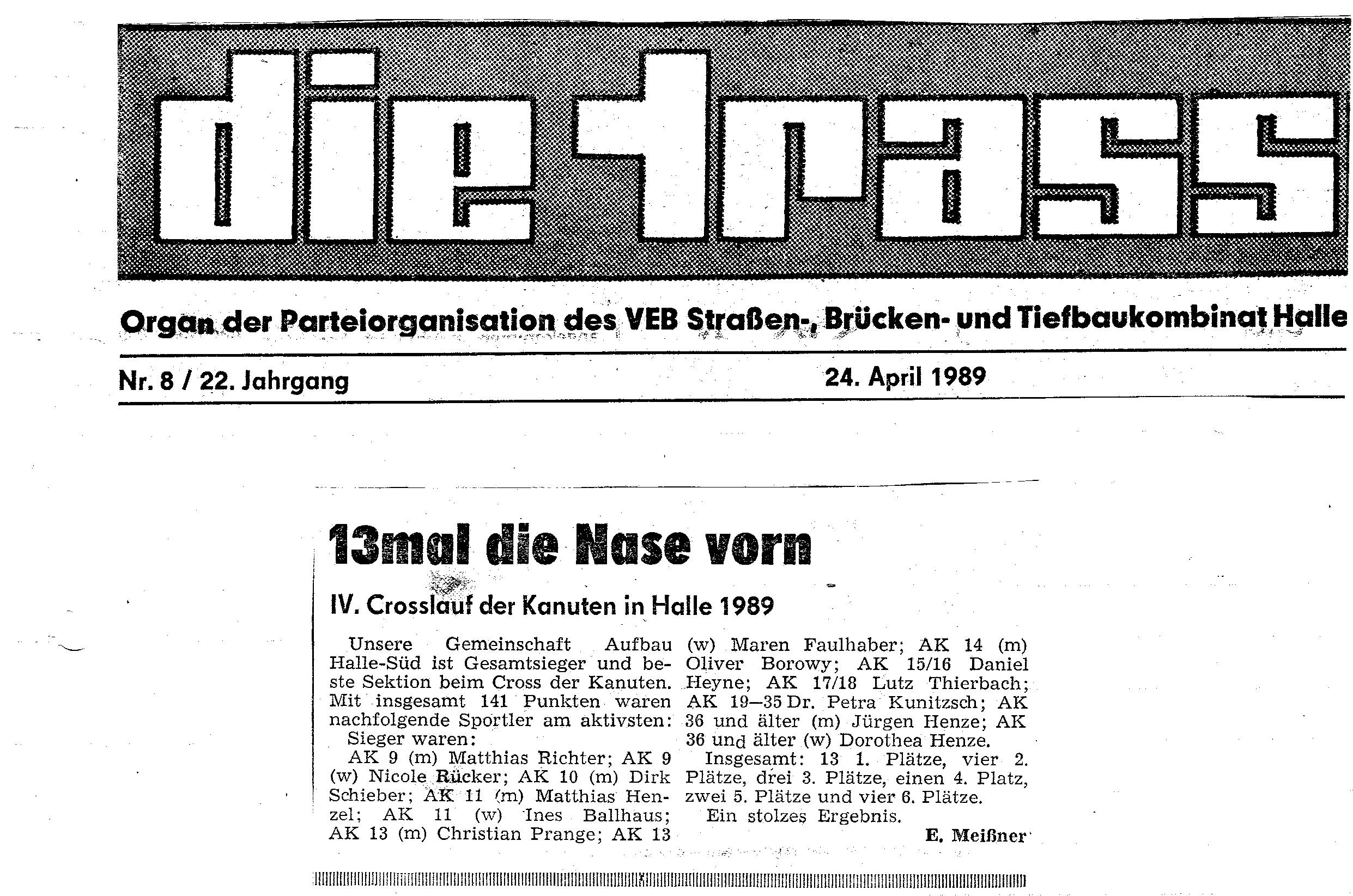 1989-04-24 Trasse 13mal Nase vorn Crosslauf der Kanuten inHalle