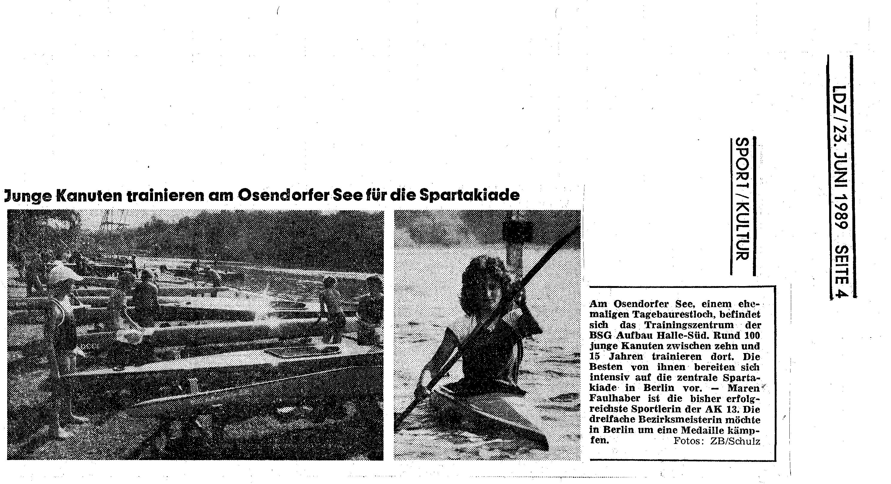 1989-06-23 Junge Kanuten trainieren am Osendorfer See für die Spartakiade