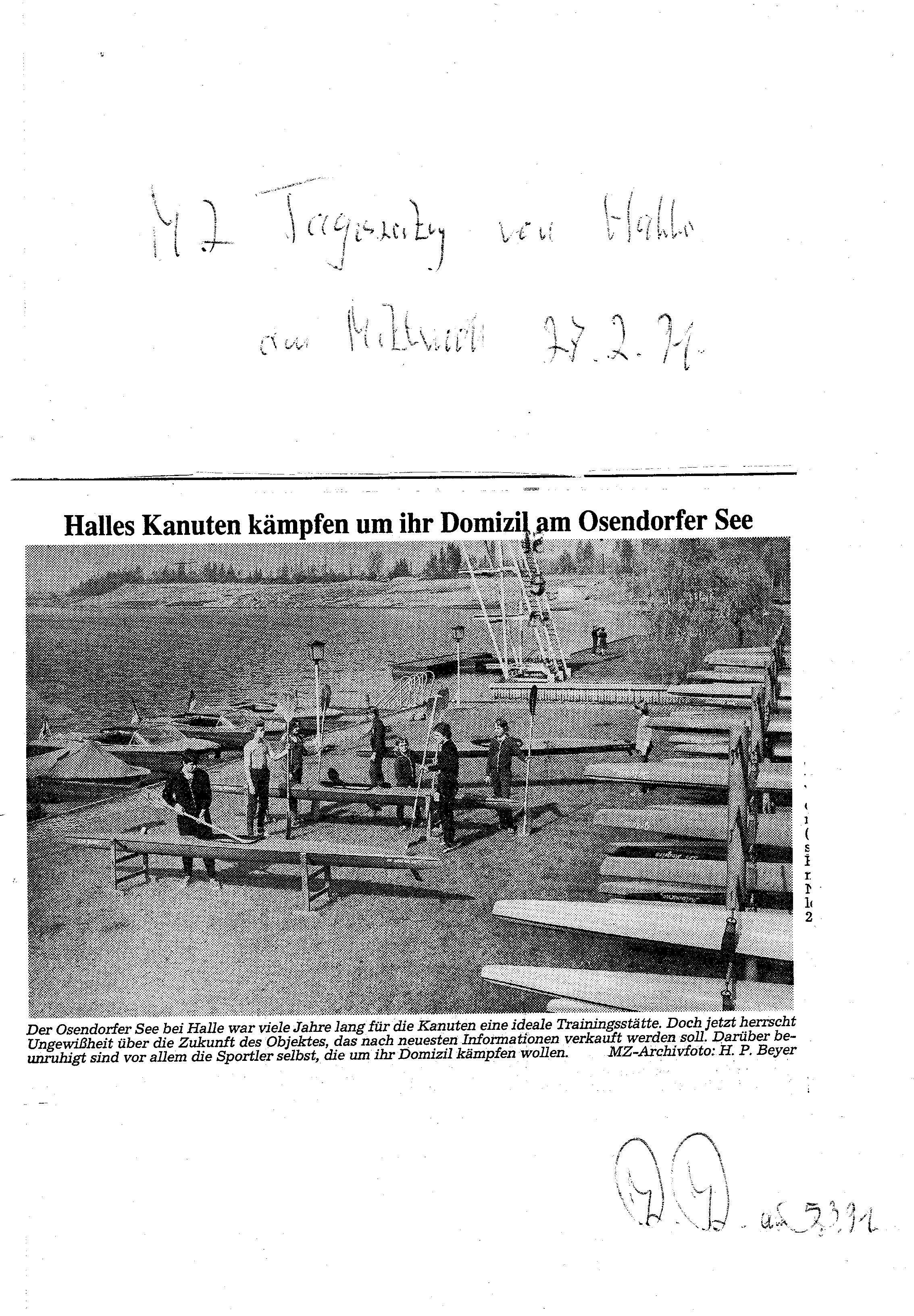 1991-02-27 MU Halles Kanuten kämpfen um Ihr Domizil am Osendorfer See