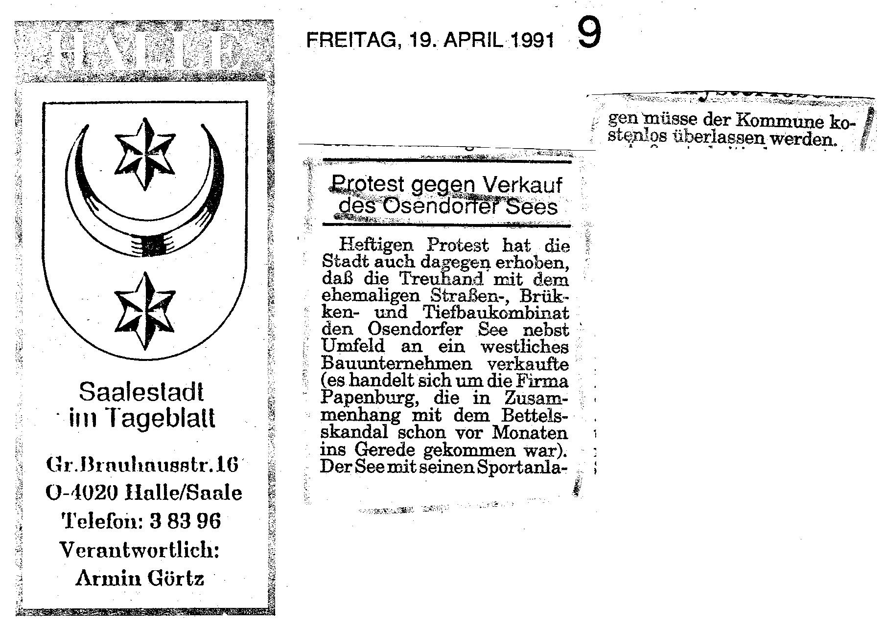1991-04-19 Protest gegen Verkauf des Osendorfer See